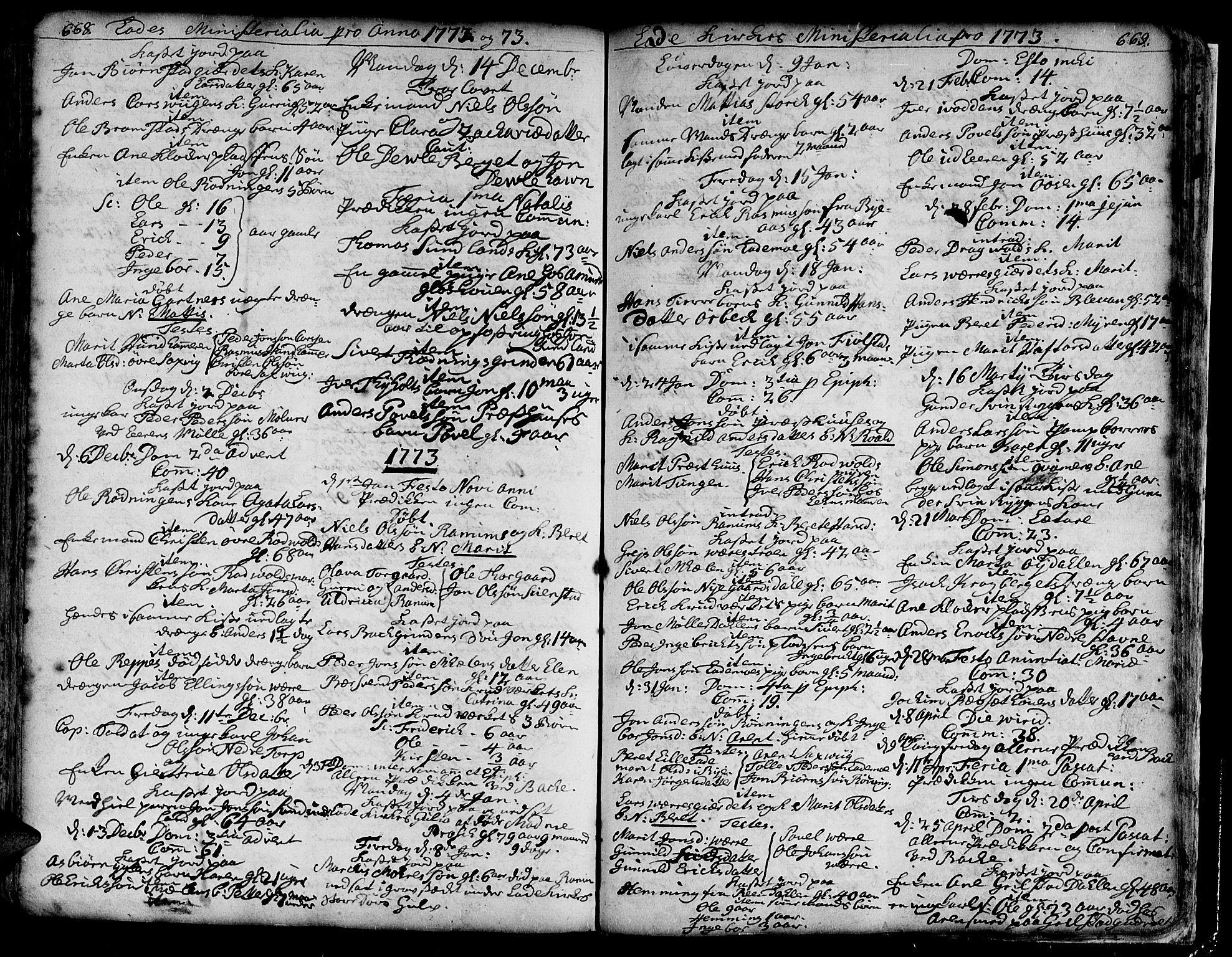 SAT, Ministerialprotokoller, klokkerbøker og fødselsregistre - Sør-Trøndelag, 606/L0275: Ministerialbok nr. 606A01 /1, 1727-1780, s. 668-669
