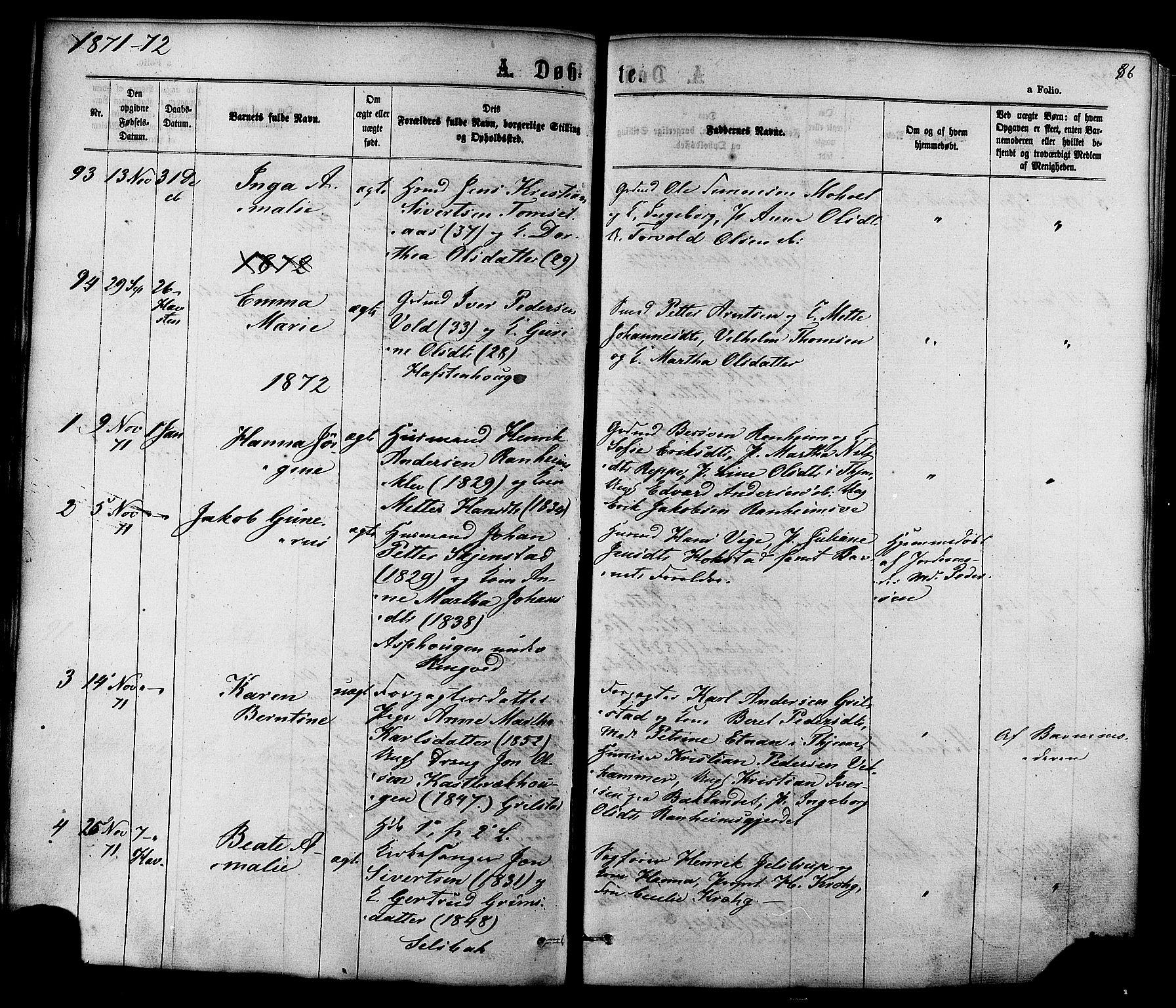 SAT, Ministerialprotokoller, klokkerbøker og fødselsregistre - Sør-Trøndelag, 606/L0293: Ministerialbok nr. 606A08, 1866-1877, s. 86