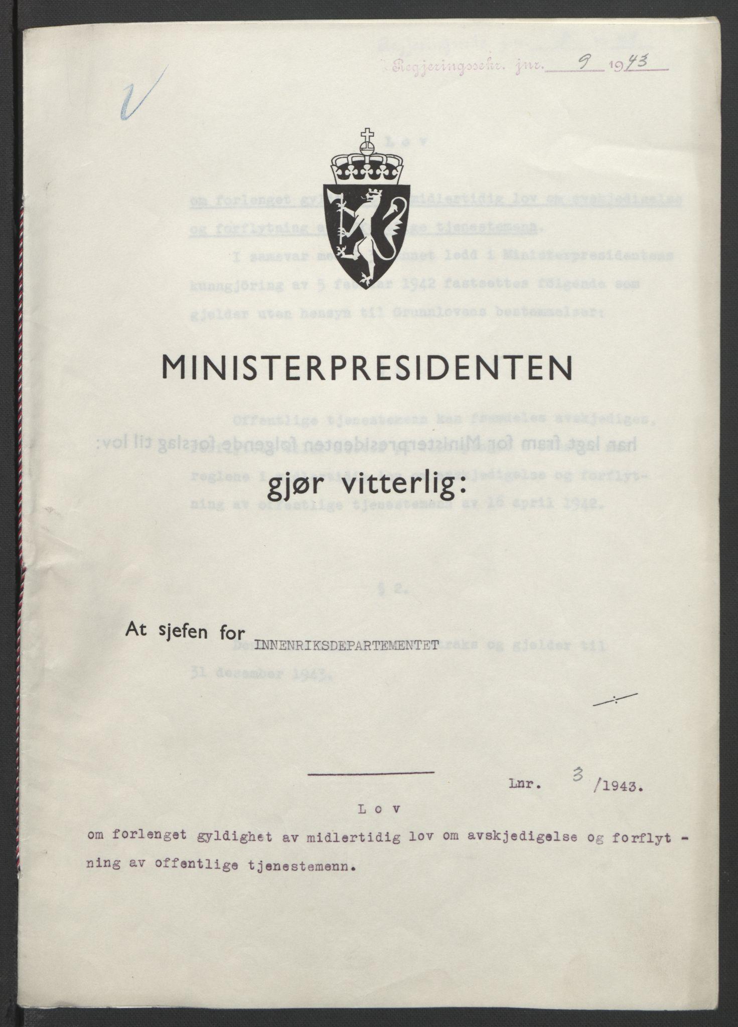RA, NS-administrasjonen 1940-1945 (Statsrådsekretariatet, de kommisariske statsråder mm), D/Db/L0099: Lover, 1943, s. 14