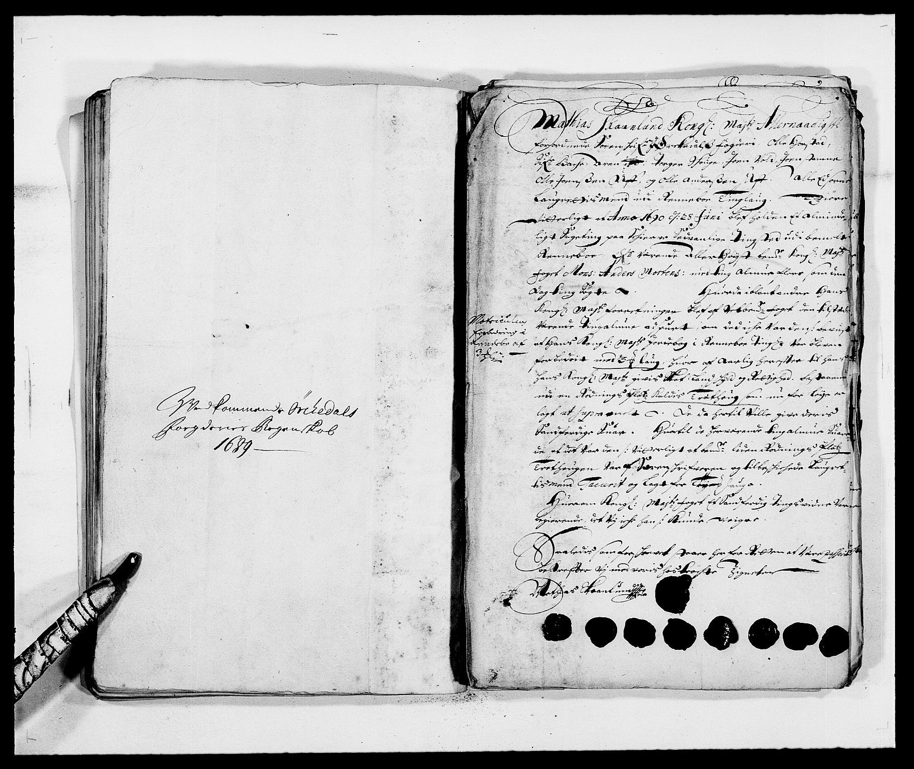 RA, Rentekammeret inntil 1814, Reviderte regnskaper, Fogderegnskap, R58/L3936: Fogderegnskap Orkdal, 1689-1690, s. 62