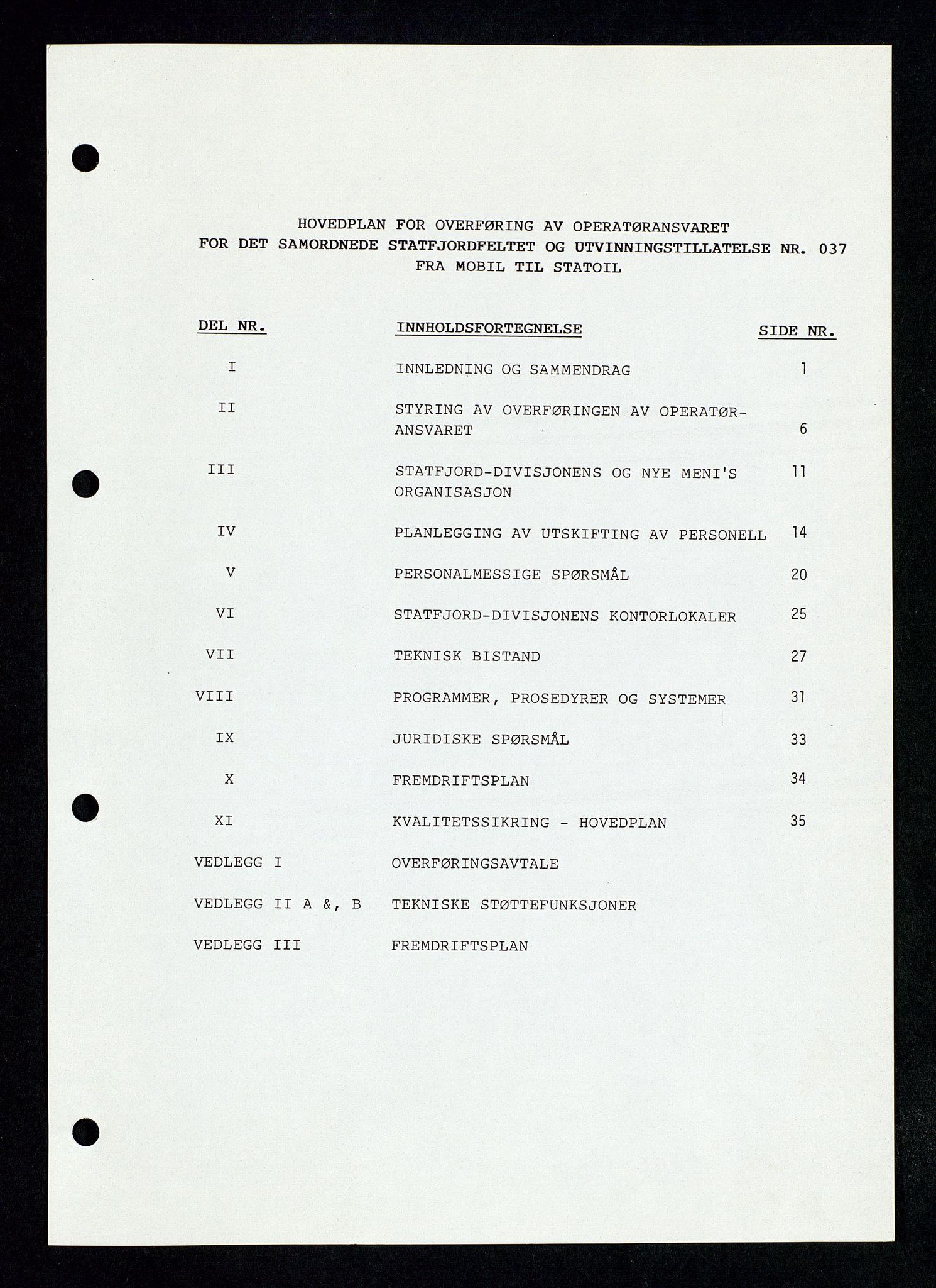 SAST, Pa 1339 - Statoil ASA, D/Dm/L0123: Rapporter, 1985-1988, s. 5
