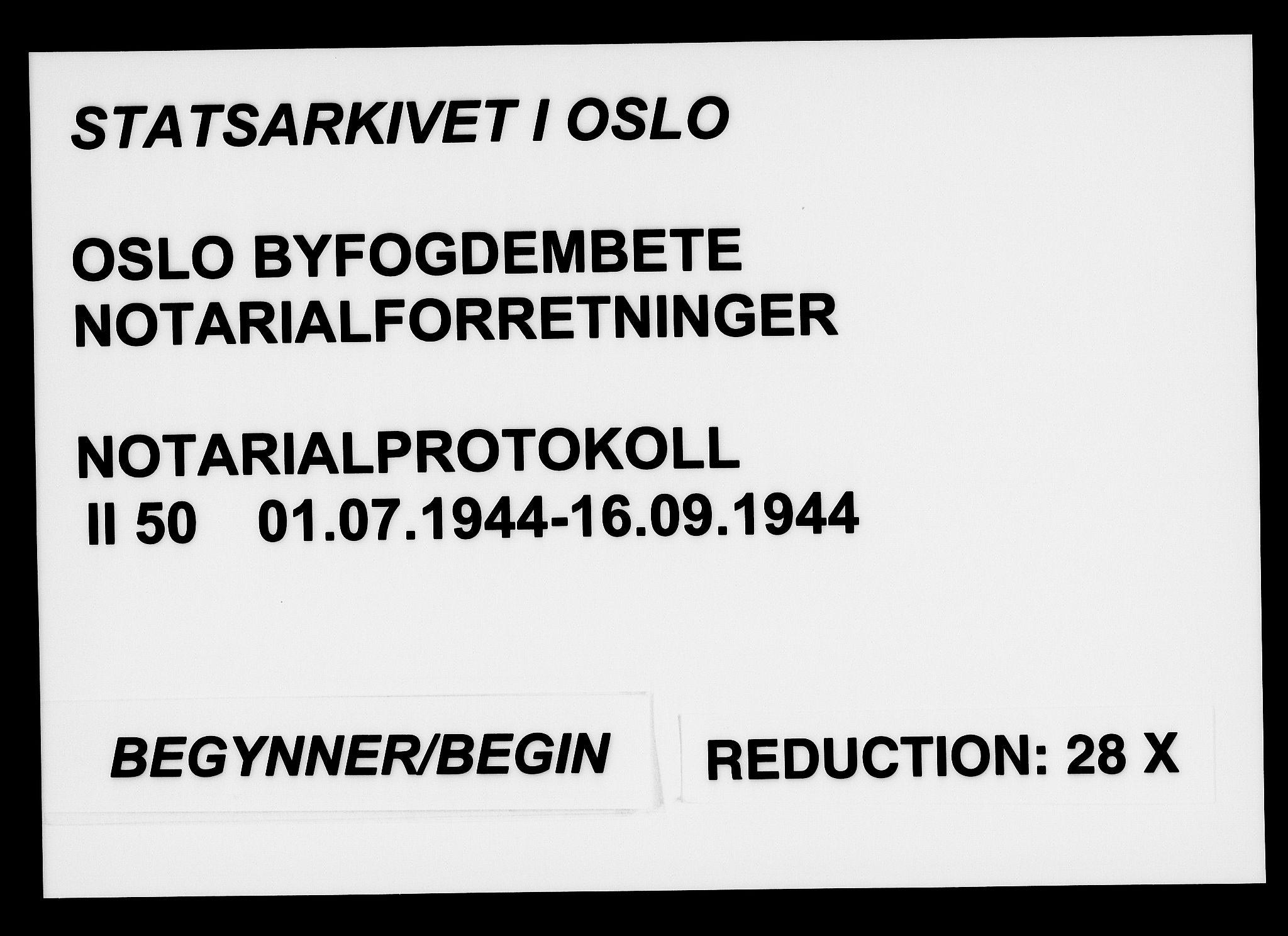 SAO, Oslo byfogd avd. I, L/Lb/Lbb/L0050: Notarialprotokoll, rekke II: Vigsler, 1944, s. upaginert