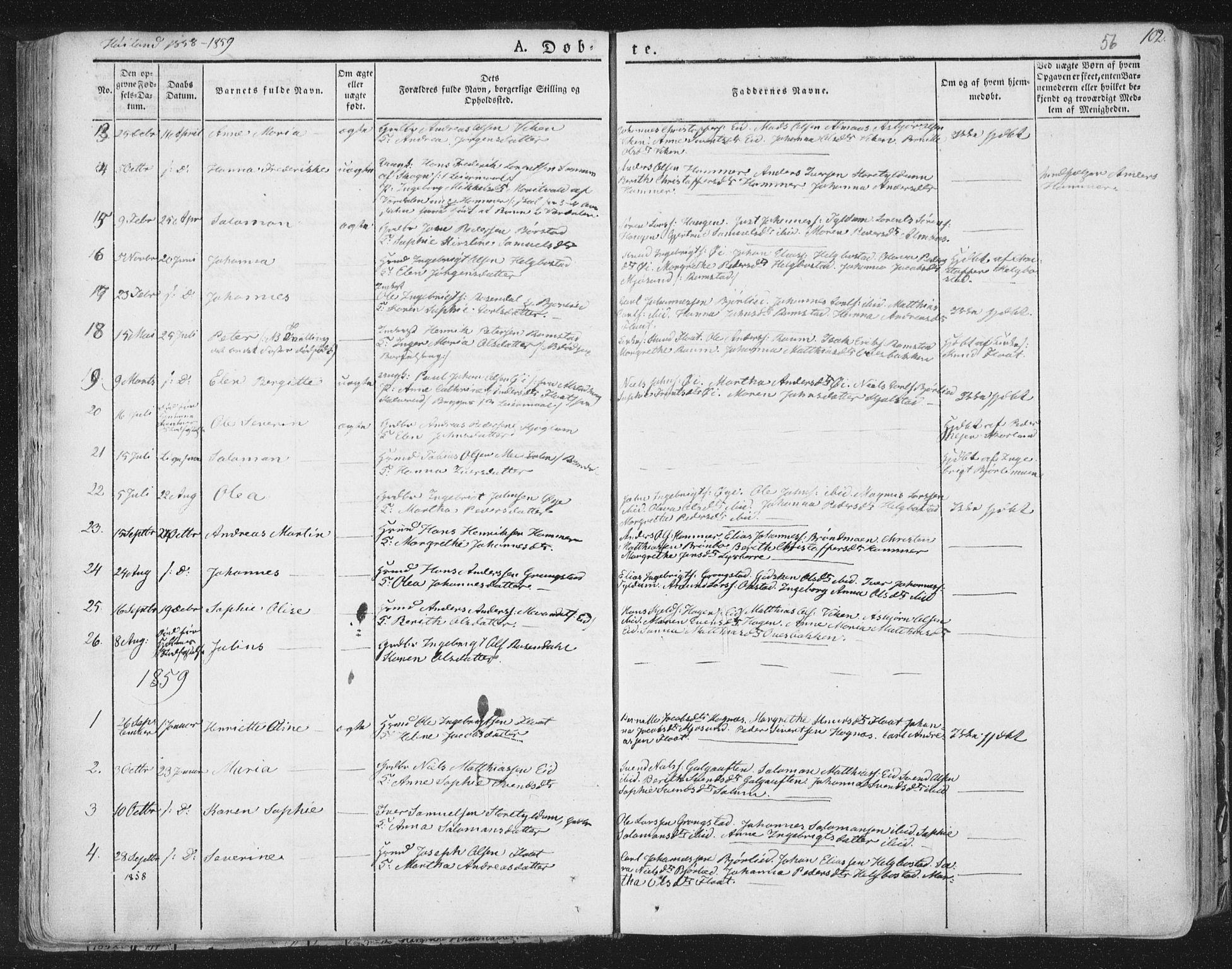 SAT, Ministerialprotokoller, klokkerbøker og fødselsregistre - Nord-Trøndelag, 758/L0513: Ministerialbok nr. 758A02 /2, 1839-1868, s. 56