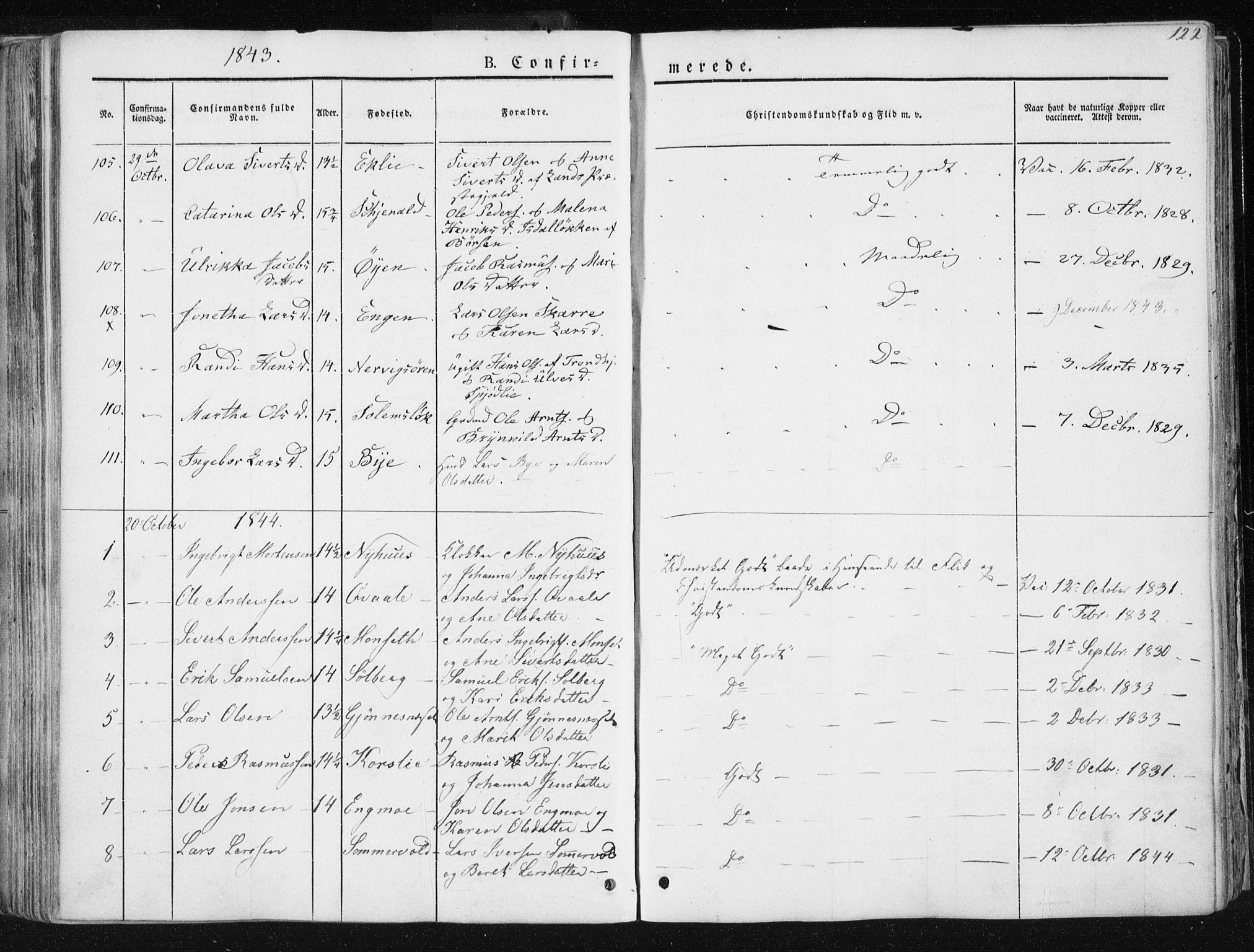 SAT, Ministerialprotokoller, klokkerbøker og fødselsregistre - Sør-Trøndelag, 668/L0805: Ministerialbok nr. 668A05, 1840-1853, s. 122
