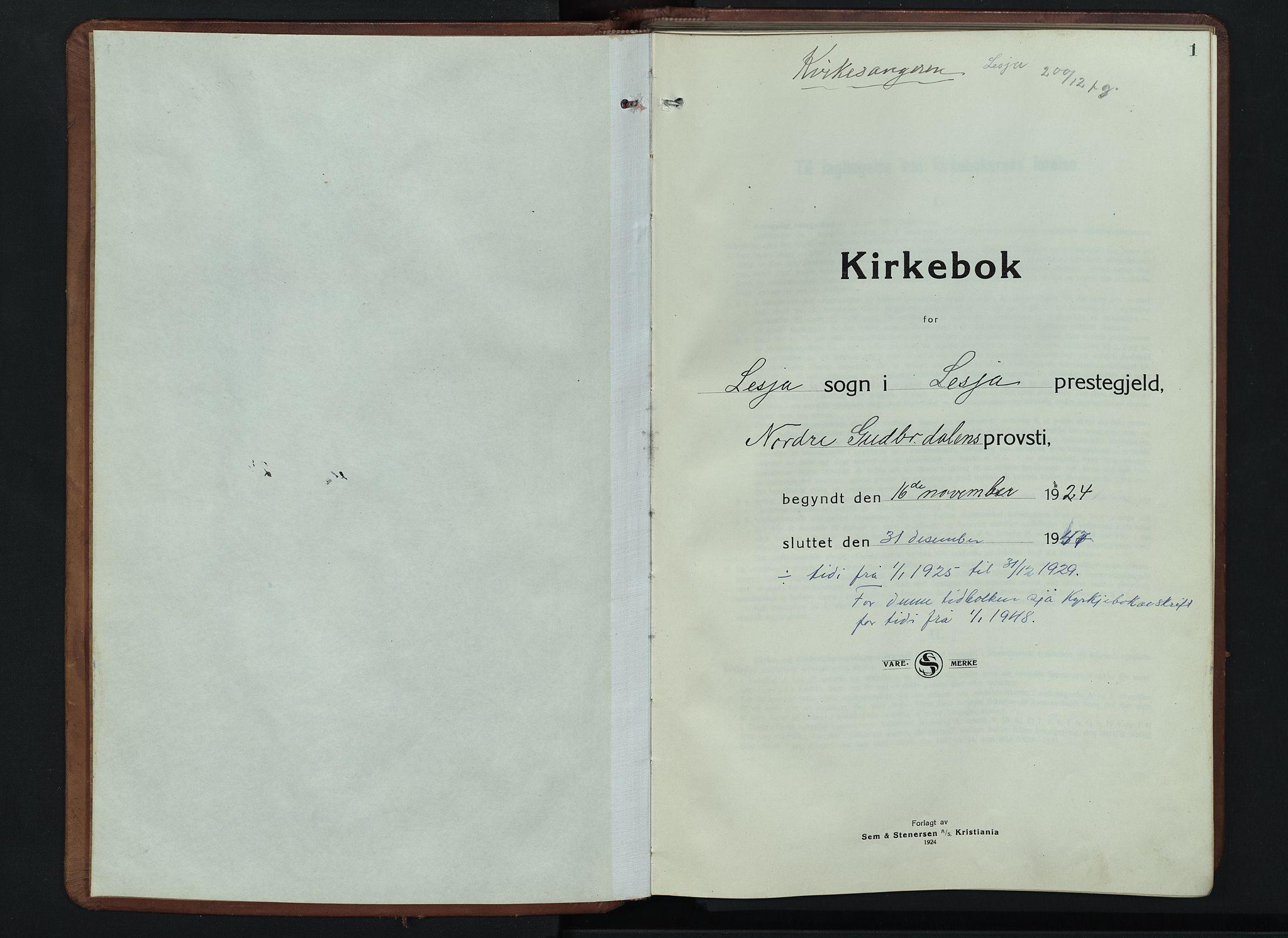SAH, Lesja prestekontor, Klokkerbok nr. 9, 1924-1947, s. 1