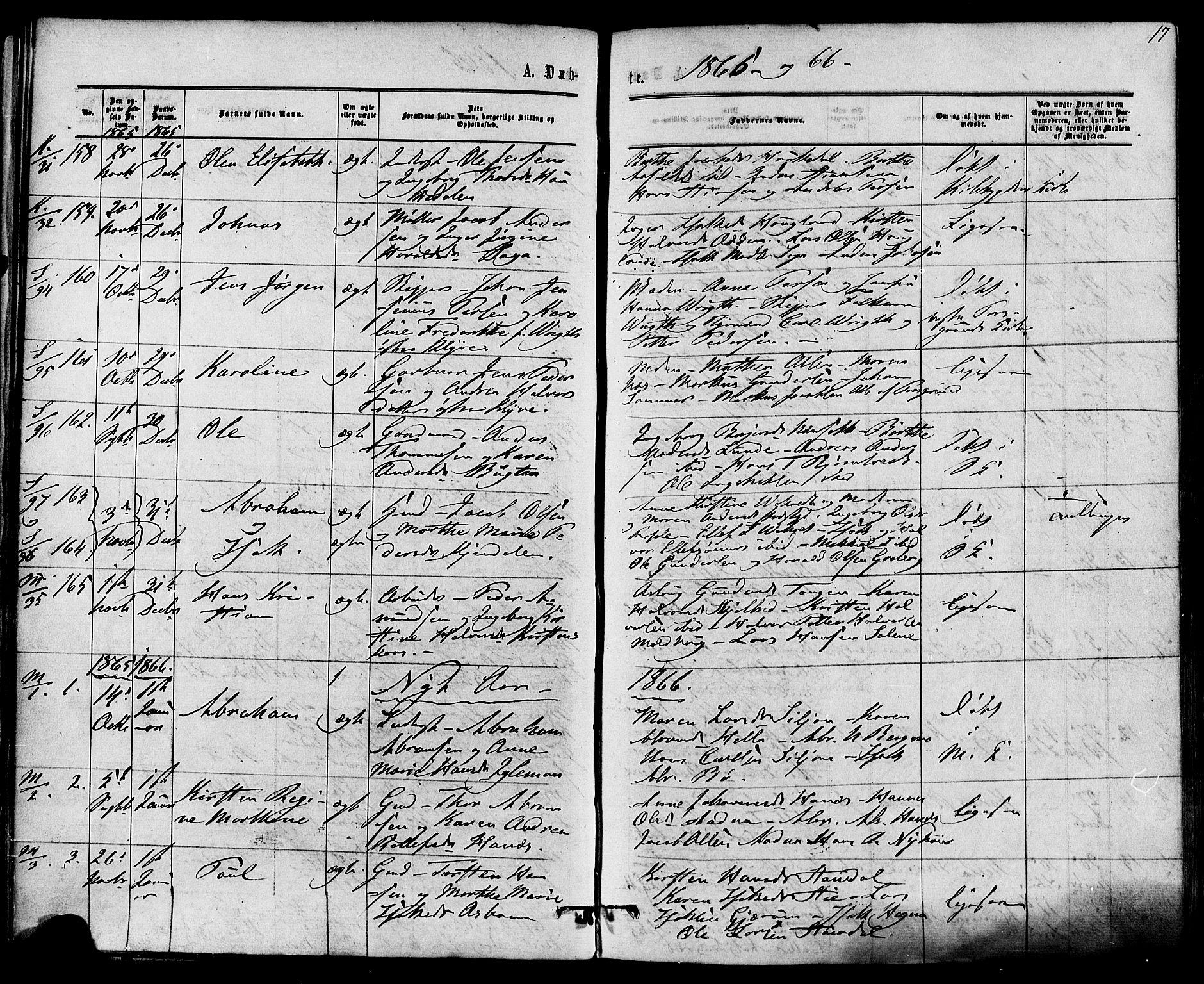 SAKO, Solum kirkebøker, F/Fa/L0008: Ministerialbok nr. I 8, 1865-1876, s. 17