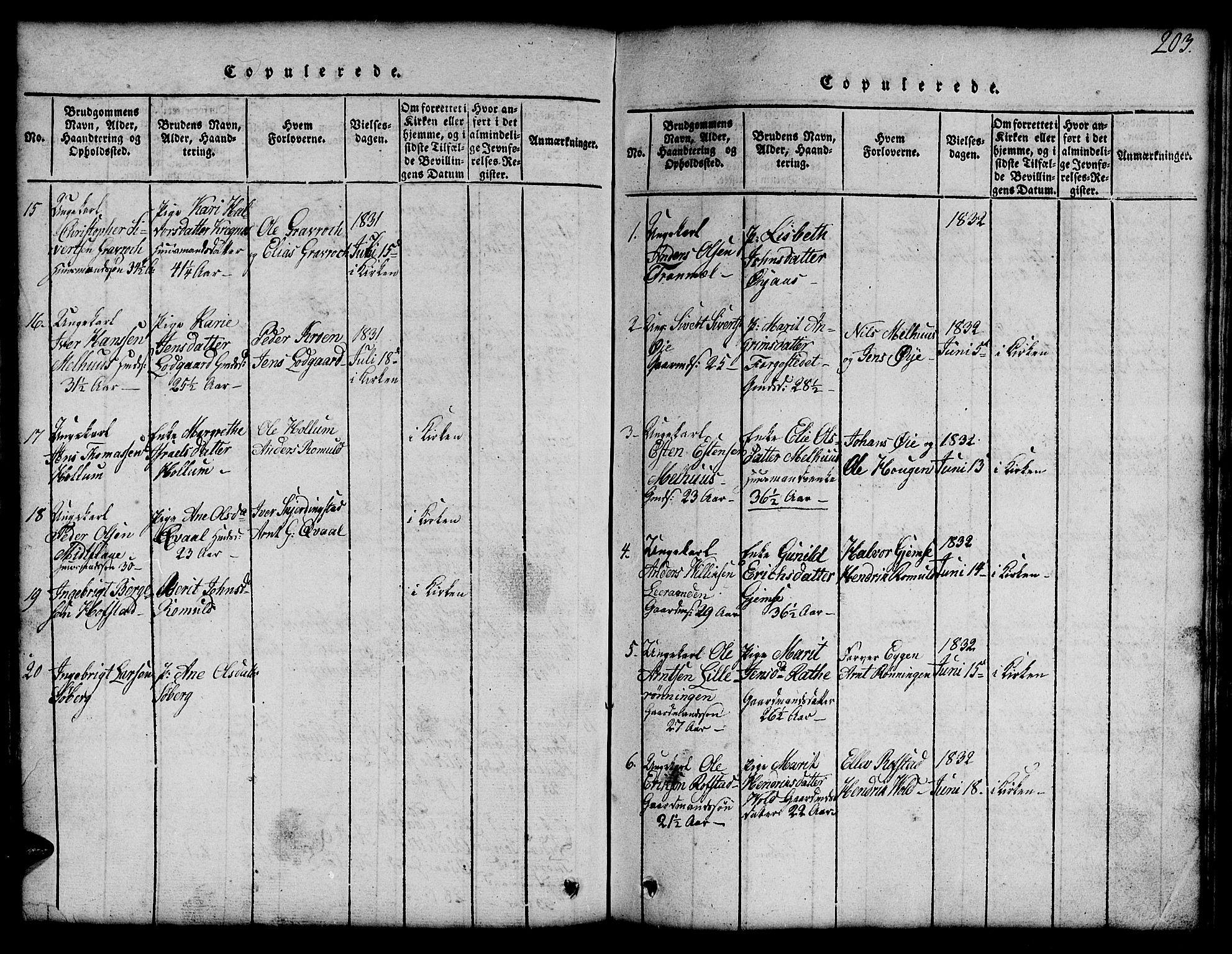 SAT, Ministerialprotokoller, klokkerbøker og fødselsregistre - Sør-Trøndelag, 691/L1092: Klokkerbok nr. 691C03, 1816-1852, s. 203