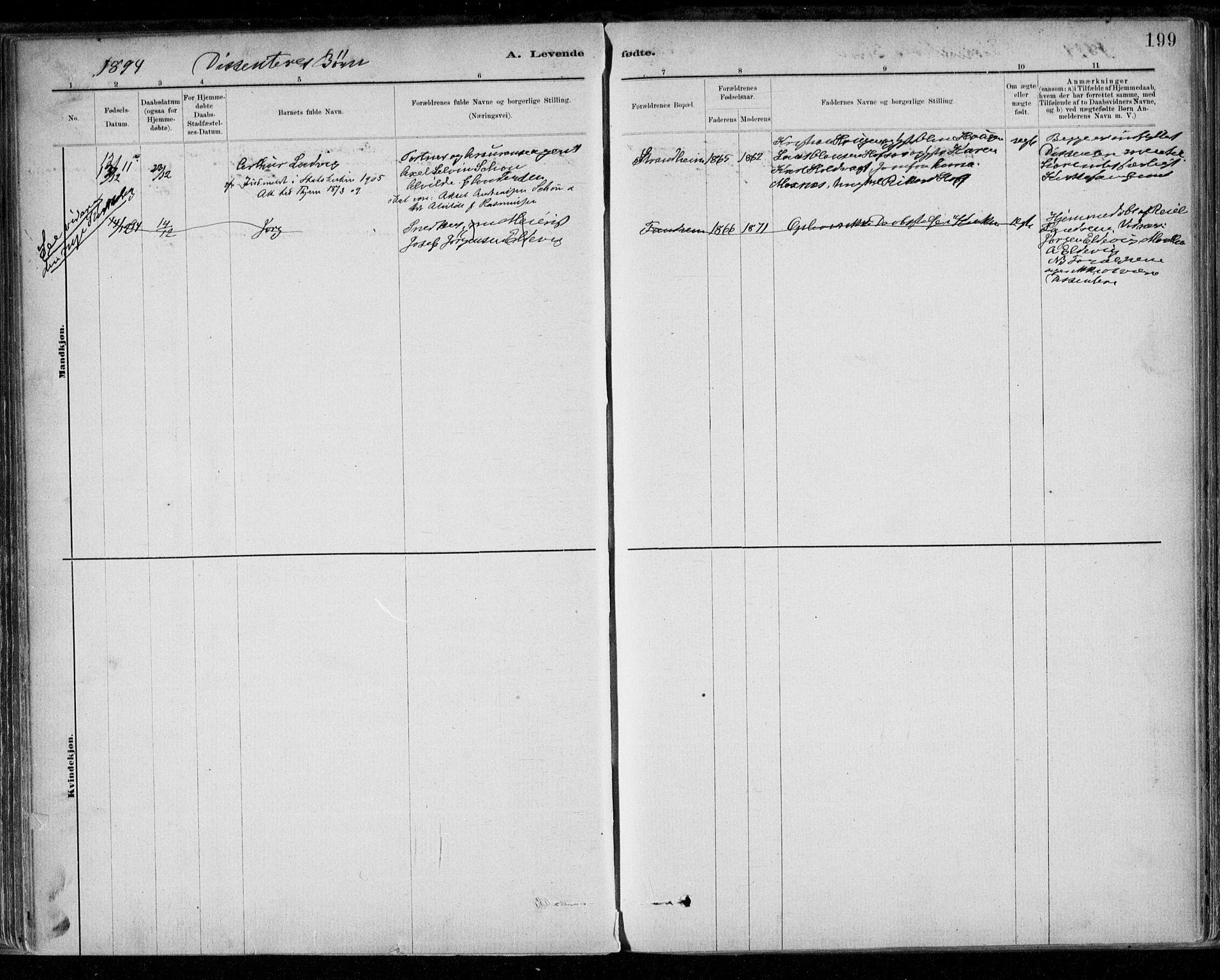 SAT, Ministerialprotokoller, klokkerbøker og fødselsregistre - Sør-Trøndelag, 668/L0809: Ministerialbok nr. 668A09, 1881-1895, s. 199