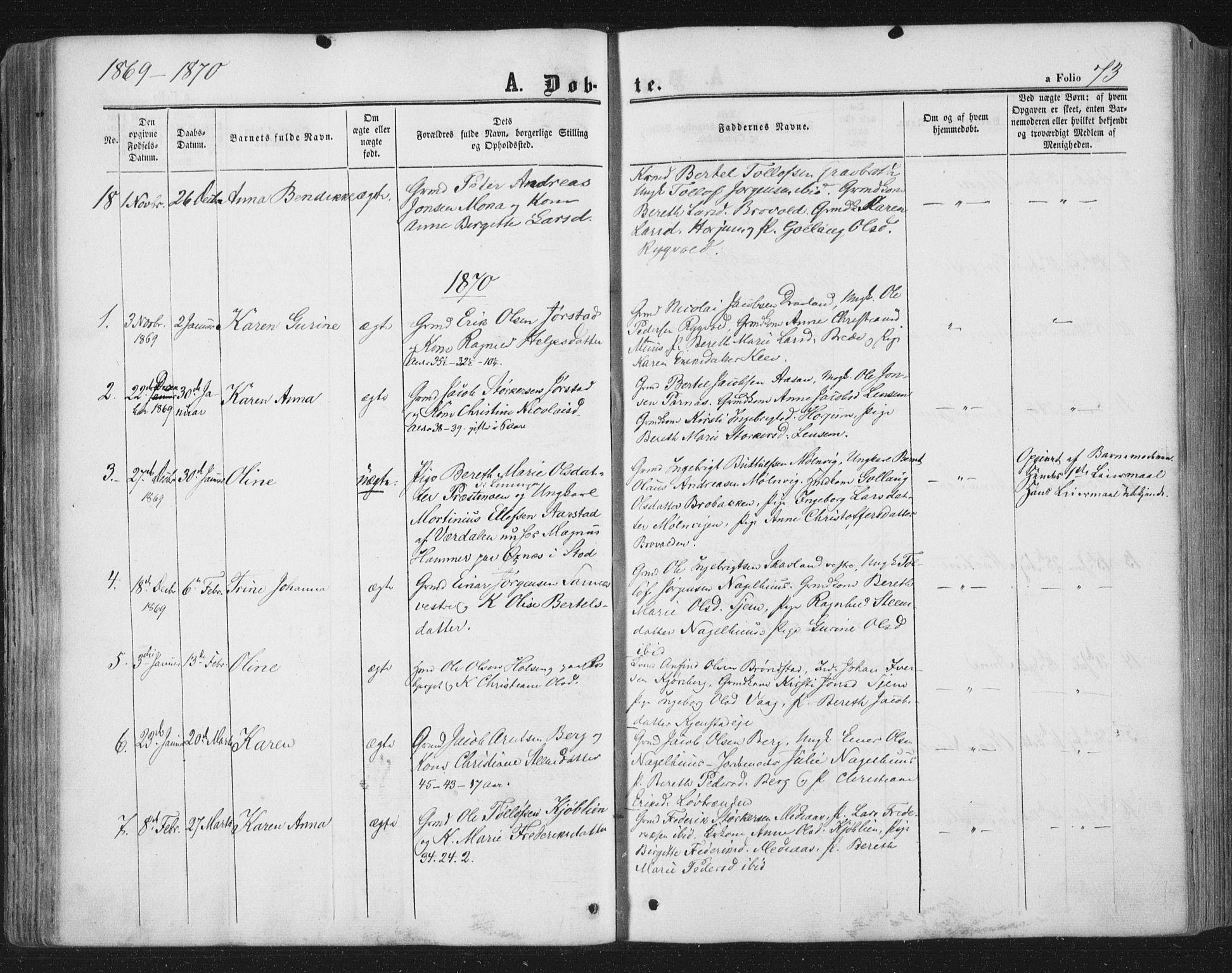 SAT, Ministerialprotokoller, klokkerbøker og fødselsregistre - Nord-Trøndelag, 749/L0472: Ministerialbok nr. 749A06, 1857-1873, s. 73