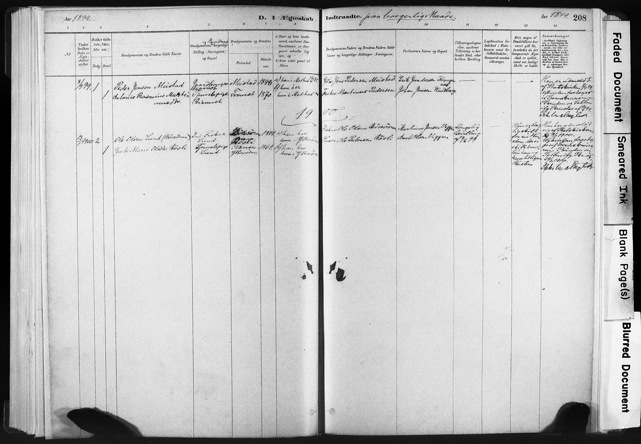 SAT, Ministerialprotokoller, klokkerbøker og fødselsregistre - Sør-Trøndelag, 665/L0773: Ministerialbok nr. 665A08, 1879-1905, s. 208