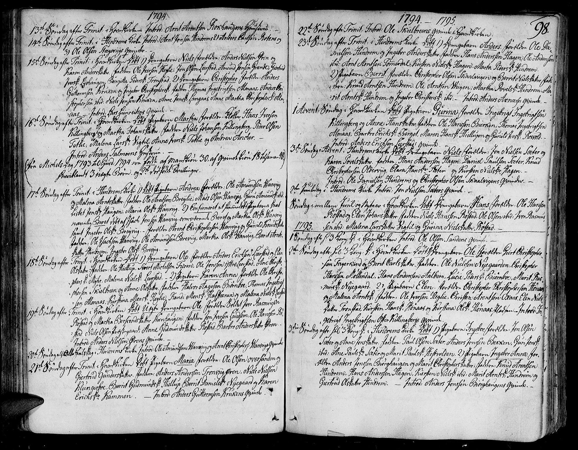 SAT, Ministerialprotokoller, klokkerbøker og fødselsregistre - Nord-Trøndelag, 701/L0004: Ministerialbok nr. 701A04, 1783-1816, s. 98