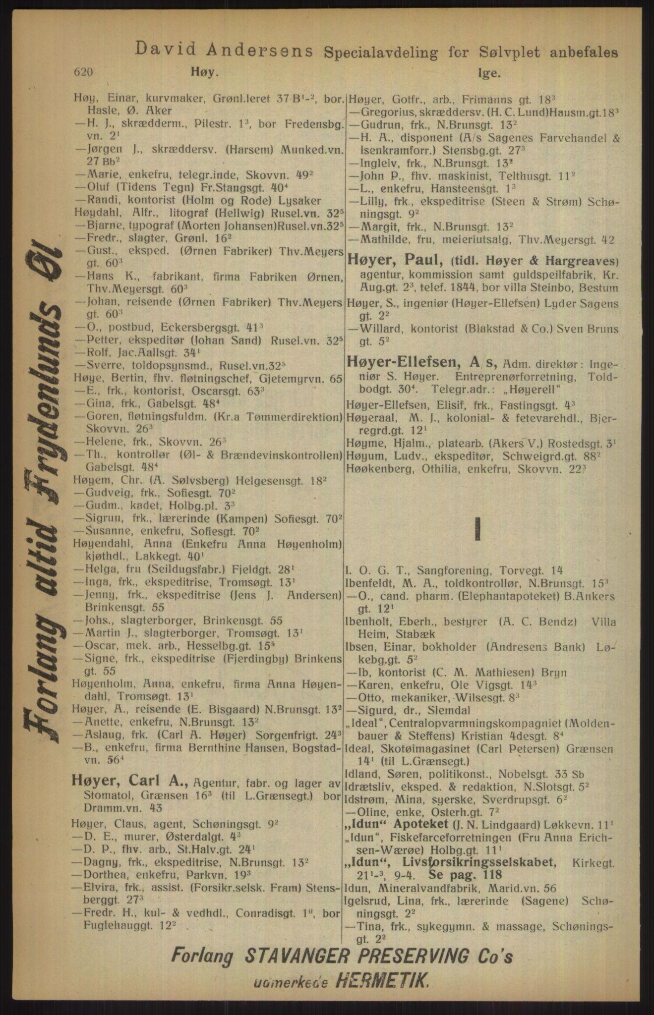 RA, Kristiania adressebok (publikasjon)*, 1915, s. 620