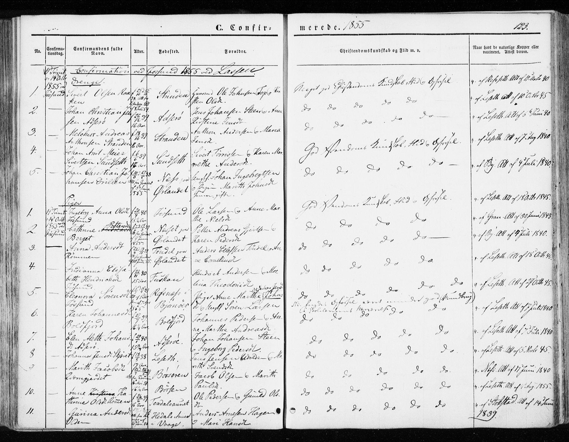SAT, Ministerialprotokoller, klokkerbøker og fødselsregistre - Sør-Trøndelag, 655/L0677: Ministerialbok nr. 655A06, 1847-1860, s. 123