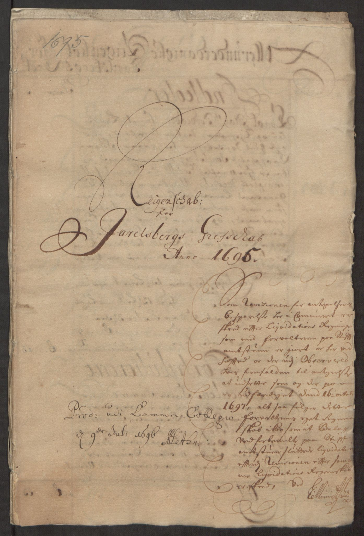 RA, Rentekammeret inntil 1814, Reviderte regnskaper, Fogderegnskap, R32/L1867: Fogderegnskap Jarlsberg grevskap, 1694-1696, s. 131