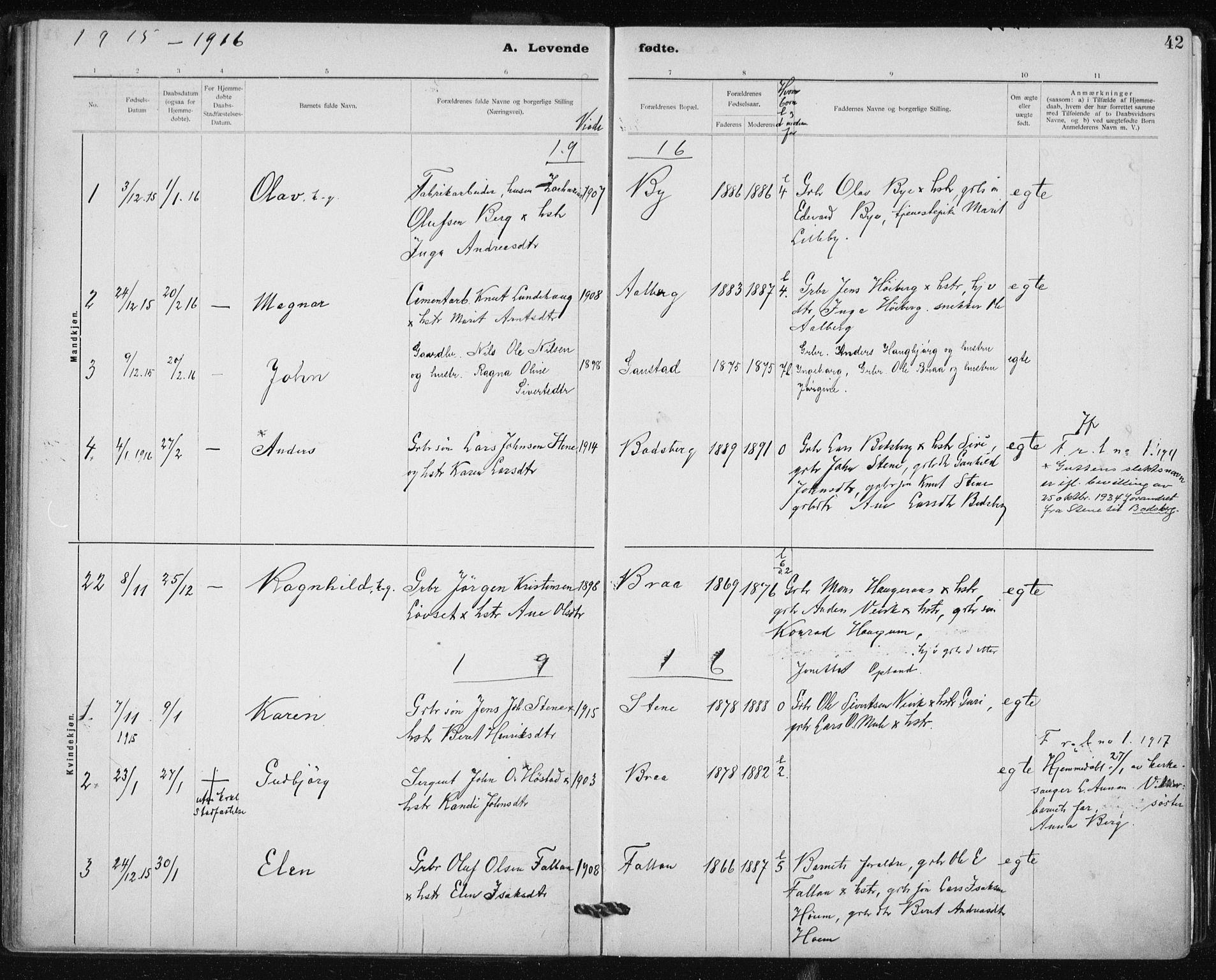 SAT, Ministerialprotokoller, klokkerbøker og fødselsregistre - Sør-Trøndelag, 612/L0381: Ministerialbok nr. 612A13, 1907-1923, s. 42