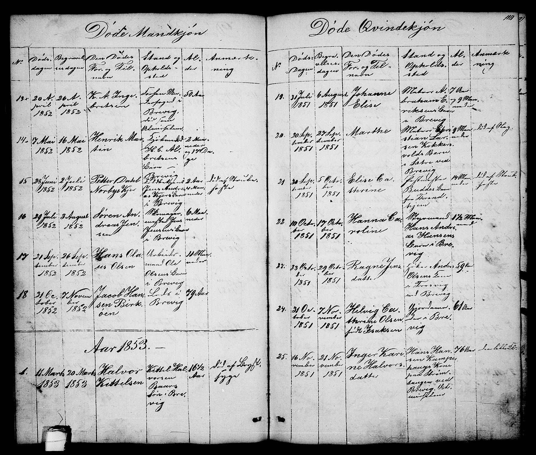 SAKO, Brevik kirkebøker, G/Ga/L0002: Klokkerbok nr. 2, 1846-1865, s. 110