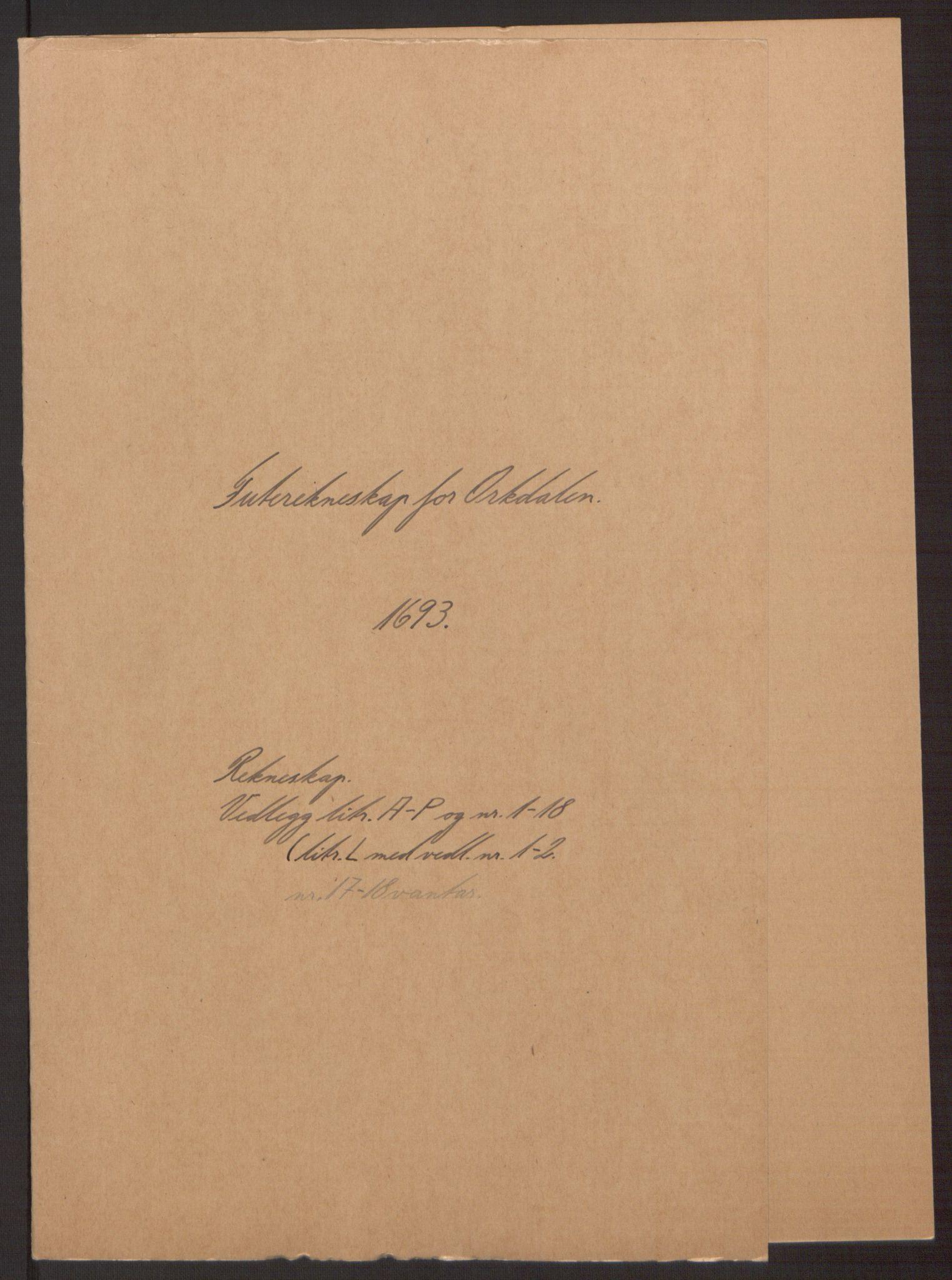 RA, Rentekammeret inntil 1814, Reviderte regnskaper, Fogderegnskap, R58/L3938: Fogderegnskap Orkdal, 1693, s. 2