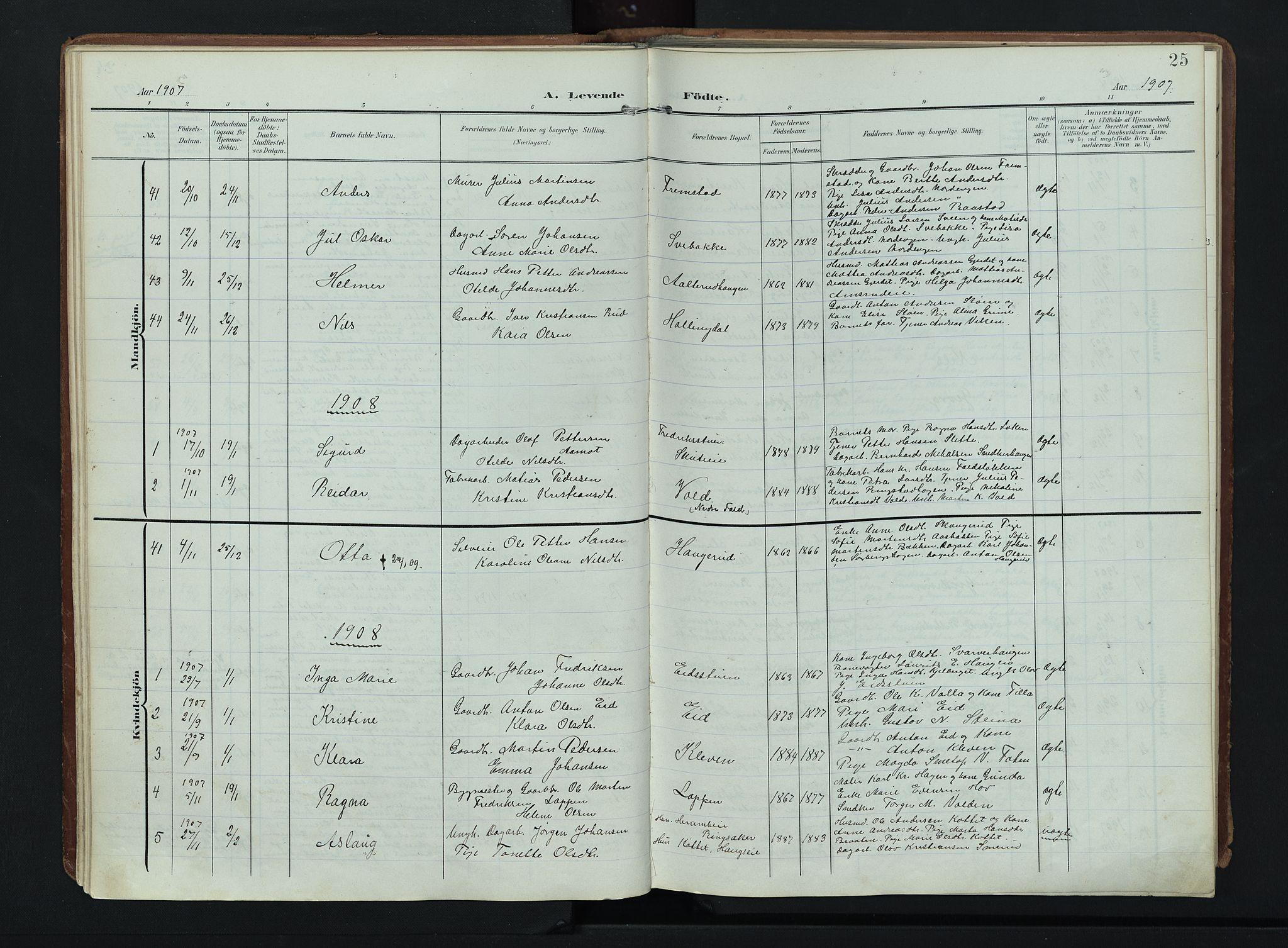 SAH, Søndre Land prestekontor, K/L0007: Ministerialbok nr. 7, 1905-1914, s. 25