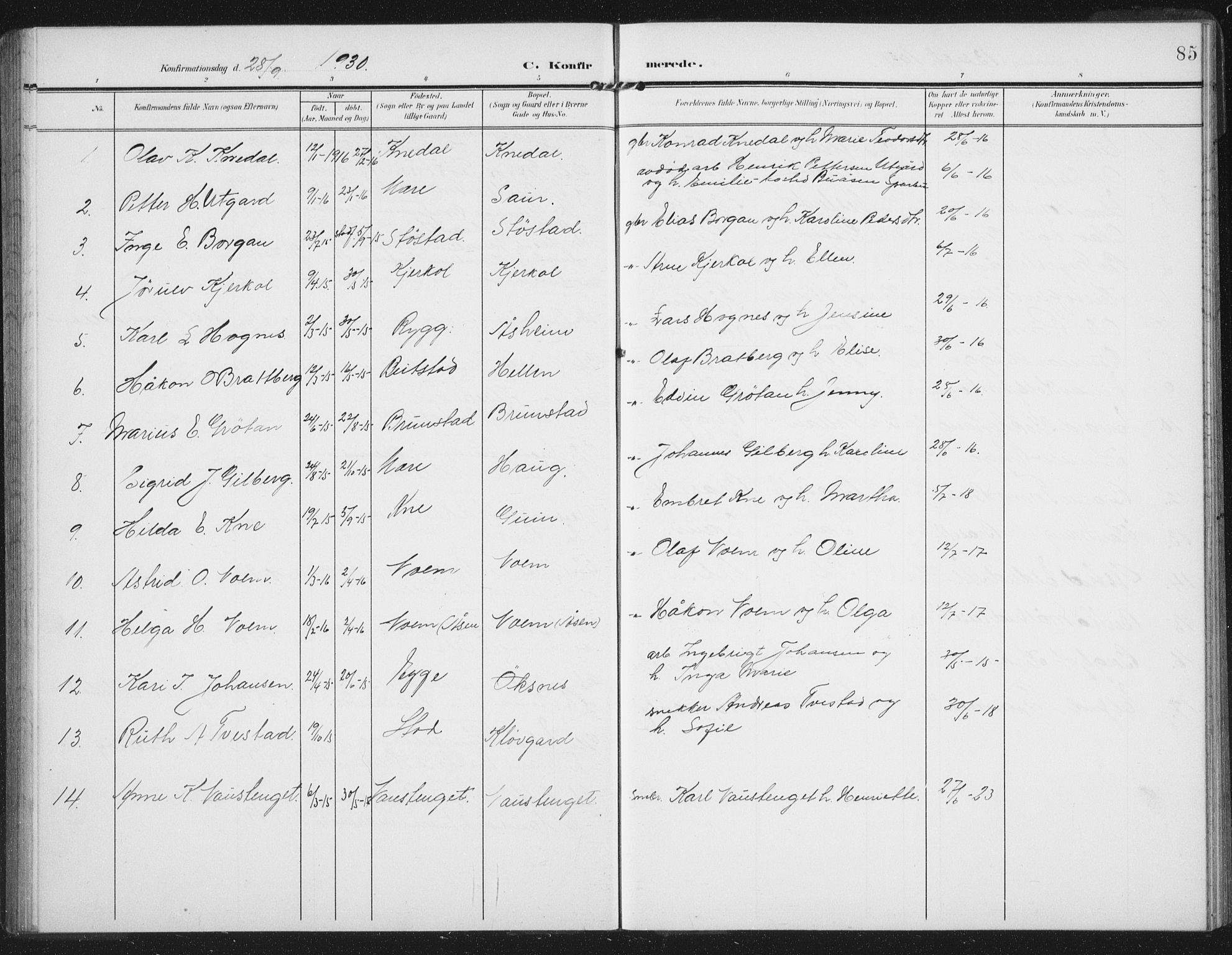 SAT, Ministerialprotokoller, klokkerbøker og fødselsregistre - Nord-Trøndelag, 747/L0460: Klokkerbok nr. 747C02, 1908-1939, s. 85