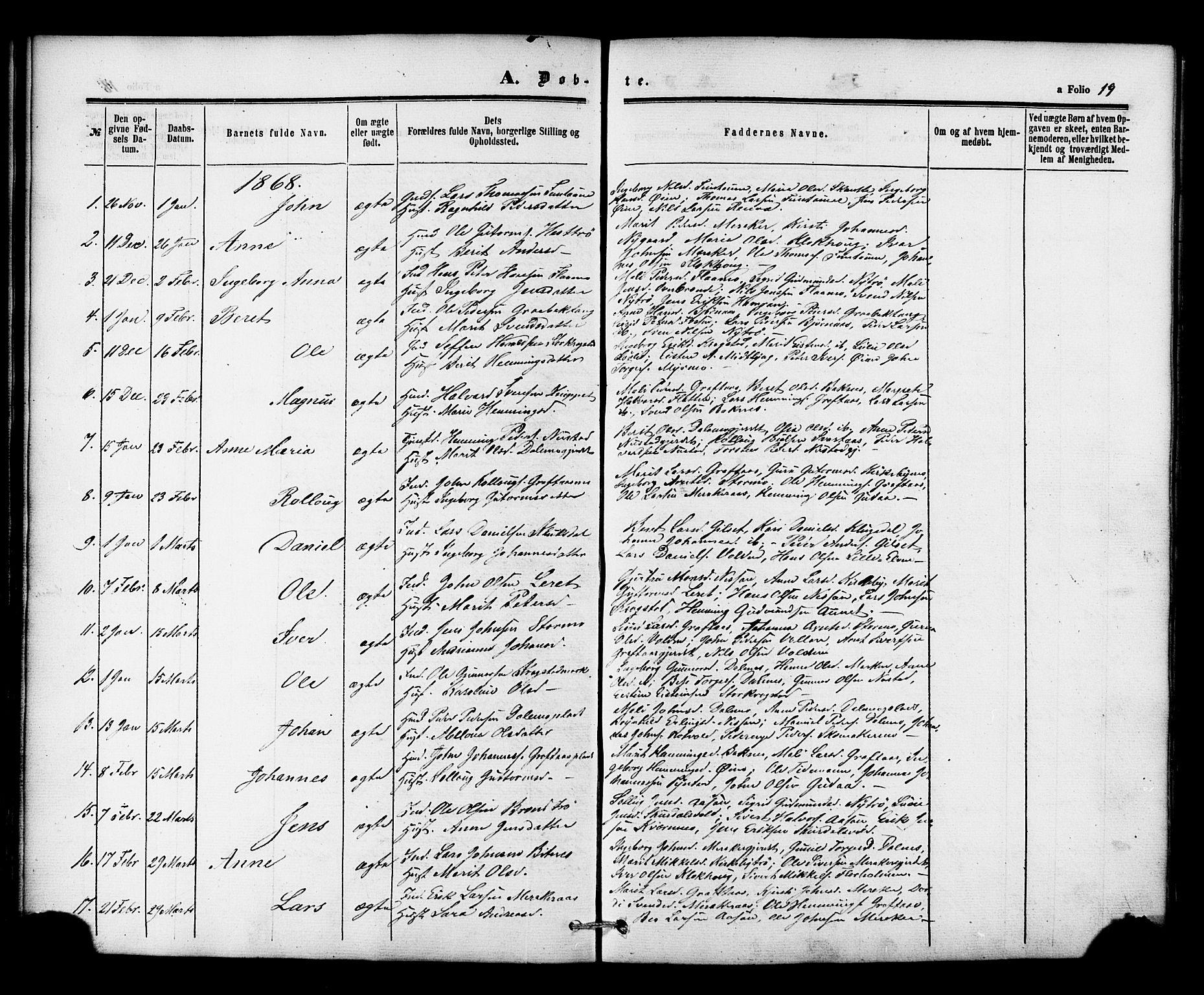 SAT, Ministerialprotokoller, klokkerbøker og fødselsregistre - Nord-Trøndelag, 706/L0041: Ministerialbok nr. 706A02, 1862-1877, s. 19