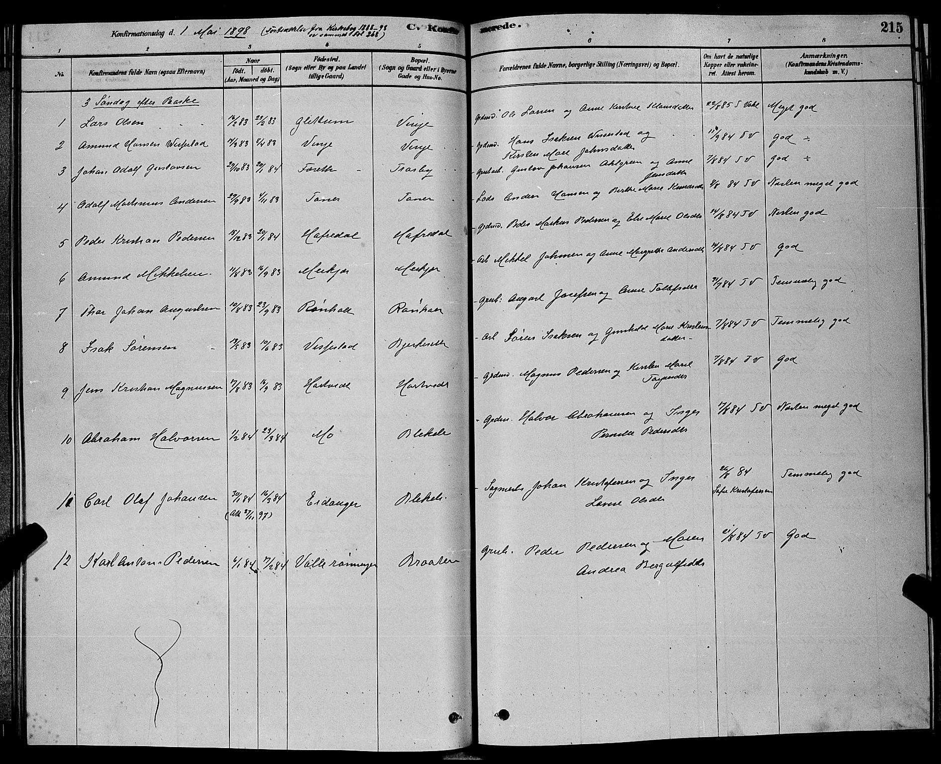 SAKO, Bamble kirkebøker, G/Ga/L0008: Klokkerbok nr. I 8, 1878-1888, s. 215
