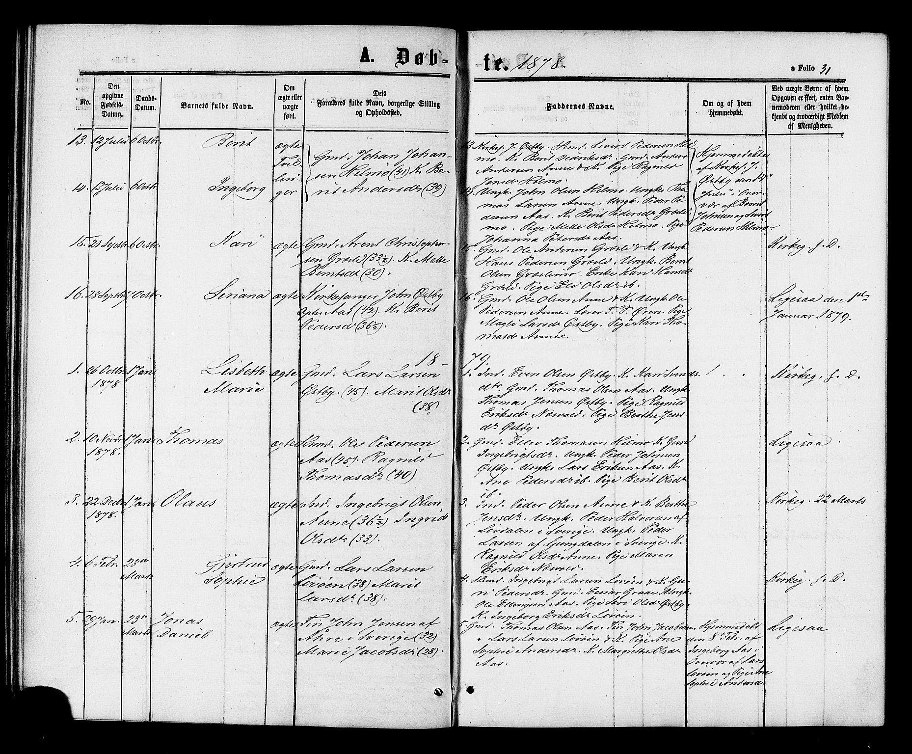 SAT, Ministerialprotokoller, klokkerbøker og fødselsregistre - Sør-Trøndelag, 698/L1163: Ministerialbok nr. 698A01, 1862-1887, s. 31
