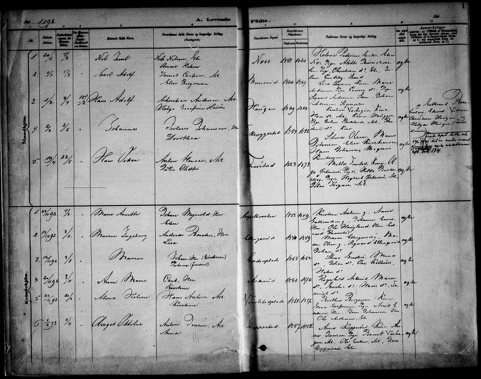 SAO, Kråkstad prestekontor Kirkebøker, F/Fb/L0002: Ministerialbok nr. II 2, 1893-1917, s. 1