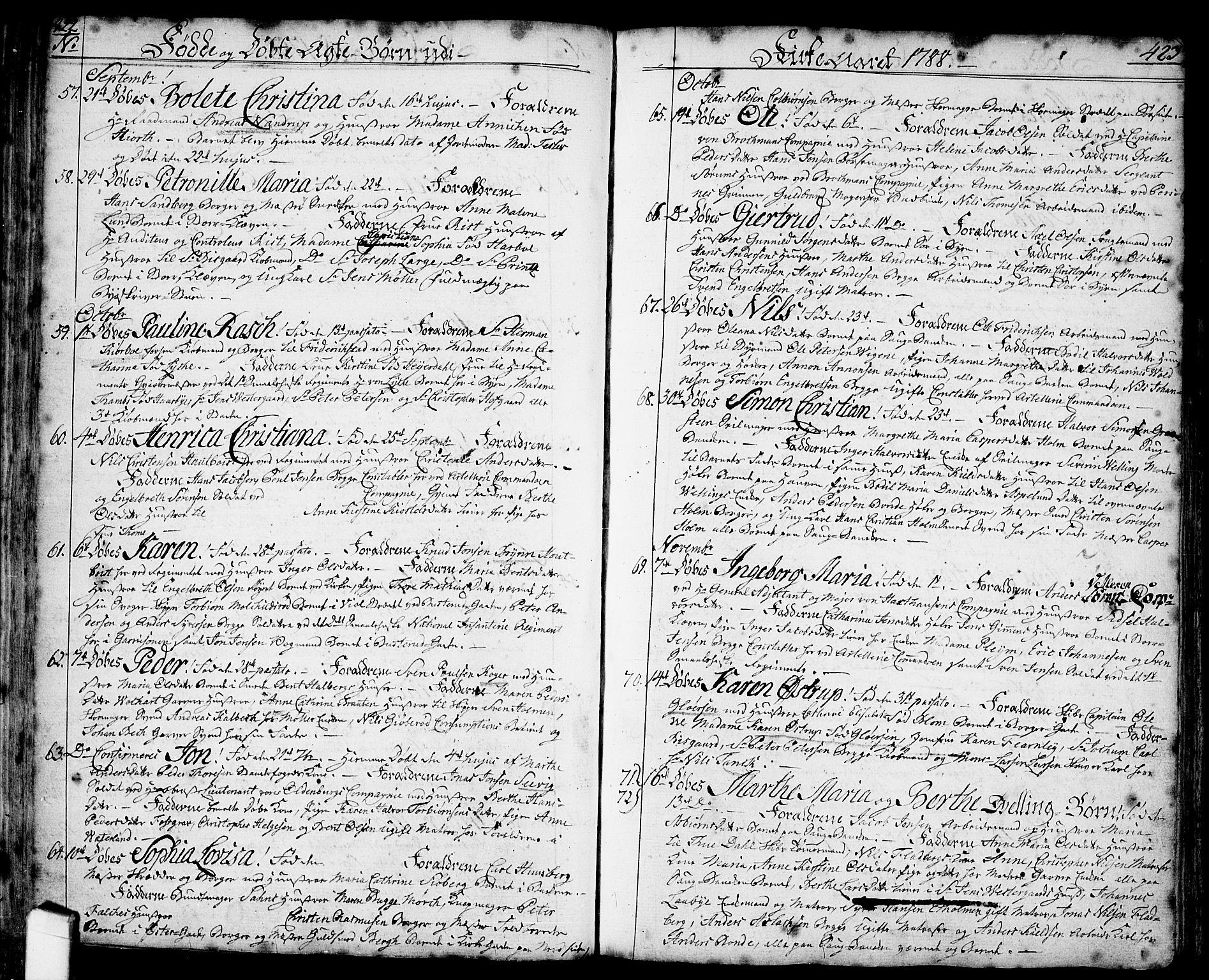 SAO, Halden prestekontor Kirkebøker, F/Fa/L0001: Ministerialbok nr. I 1, 1758-1791, s. 422-423
