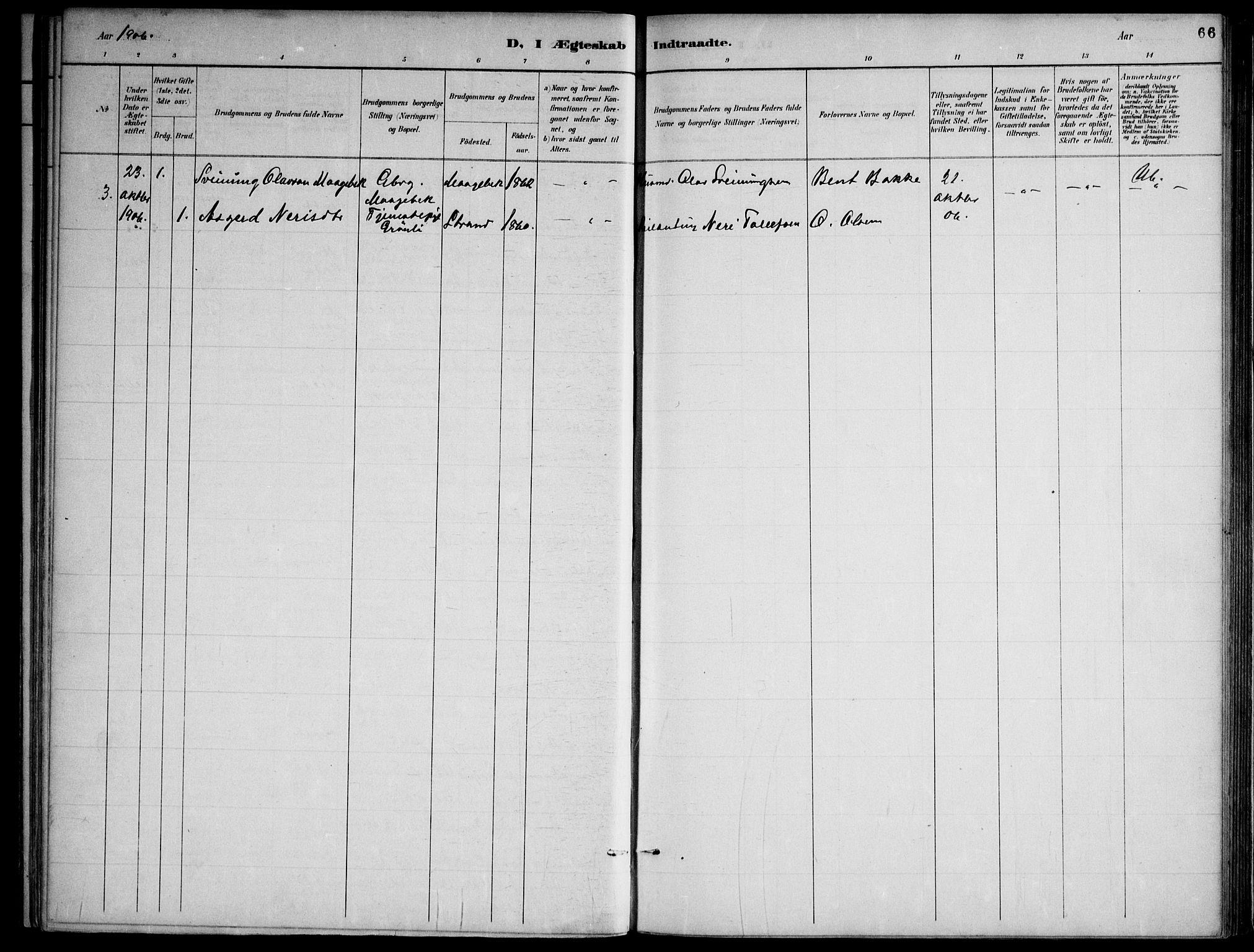 SAKO, Lårdal kirkebøker, F/Fa/L0007: Ministerialbok nr. I 7, 1887-1906, s. 66