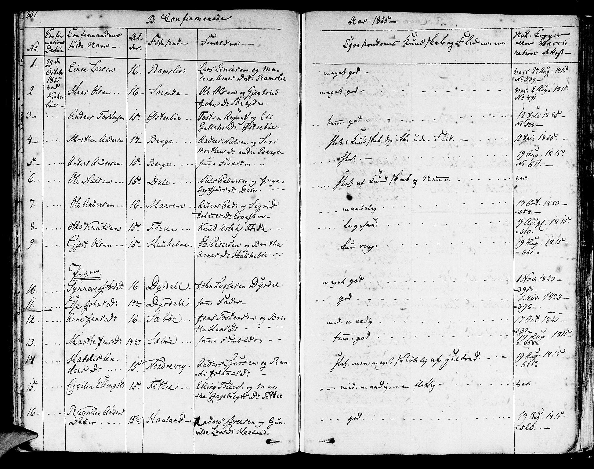 SAB, Lavik sokneprestembete, Ministerialbok nr. A 2I, 1821-1842, s. 301