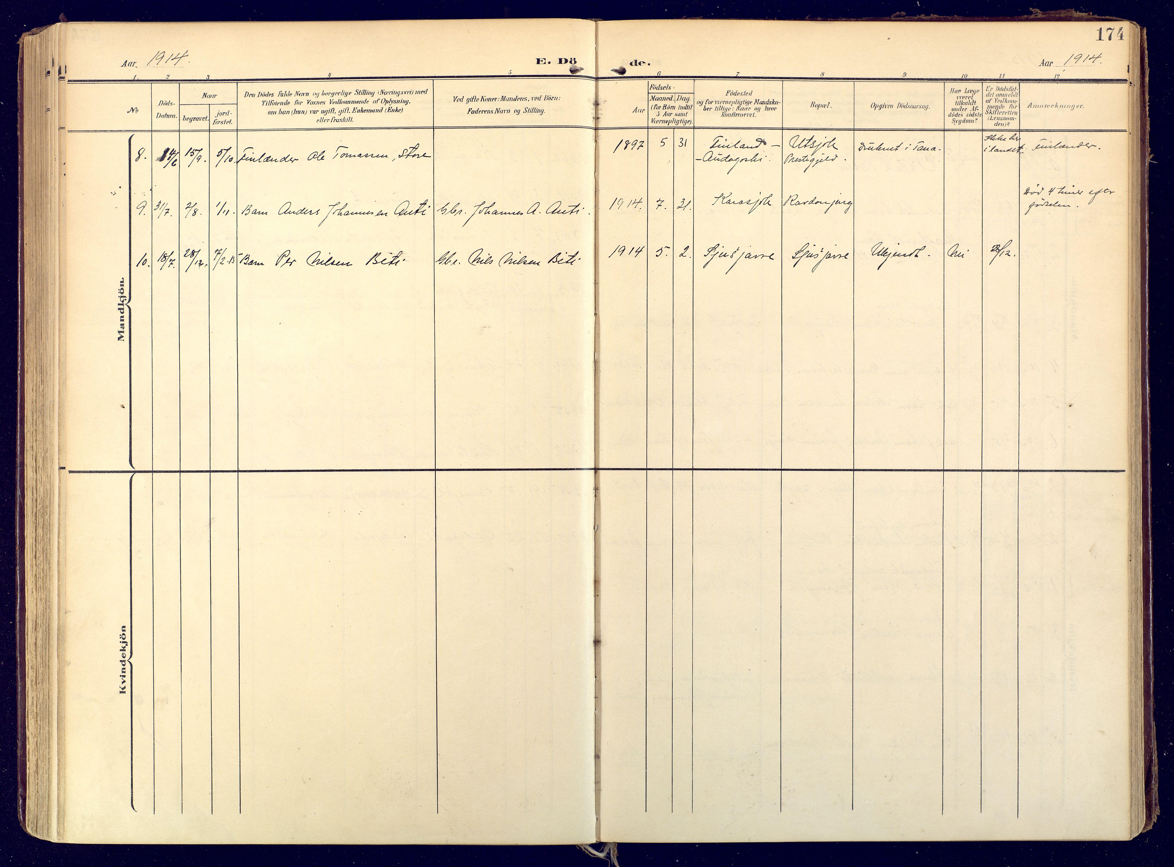 SATØ, Karasjok sokneprestkontor, H/Ha: Ministerialbok nr. 3, 1907-1926, s. 174