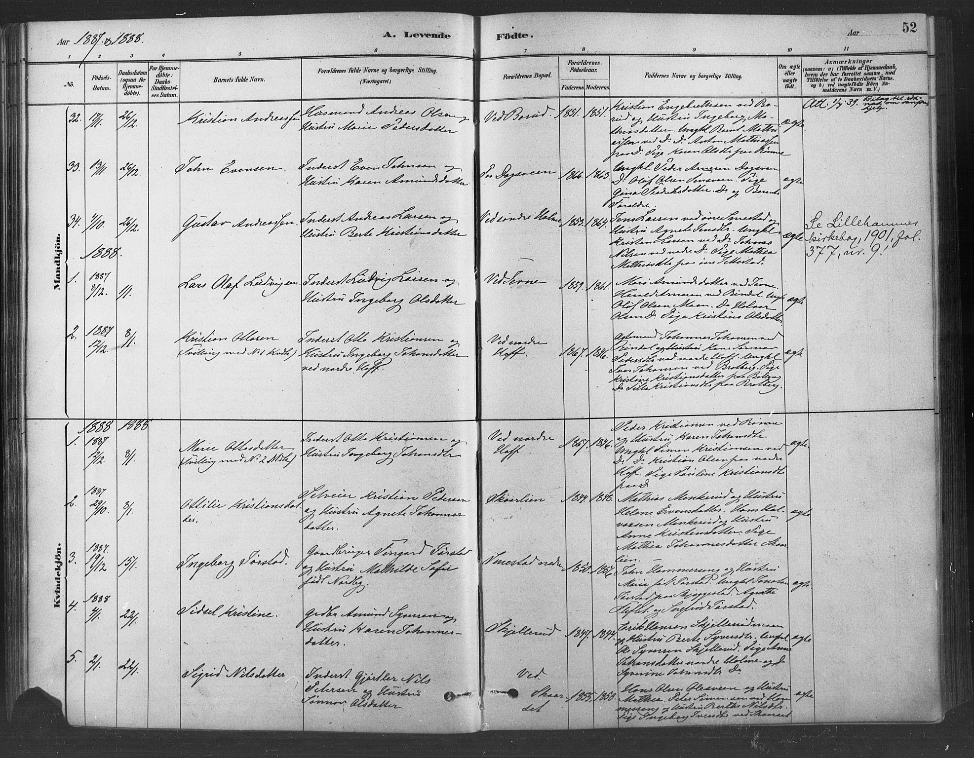 SAH, Fåberg prestekontor, Ministerialbok nr. 9, 1879-1898, s. 52
