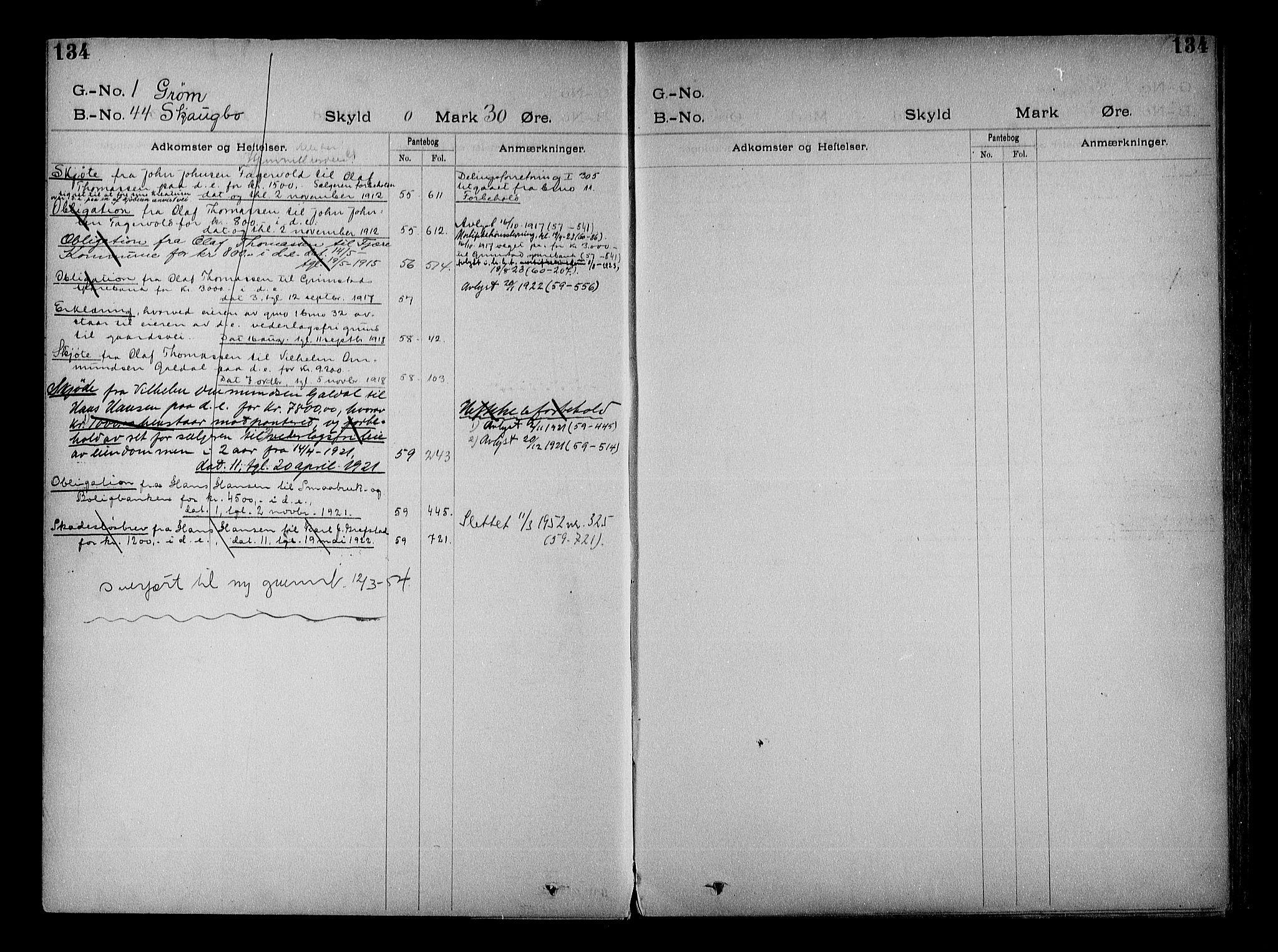 SAK, Vestre Nedenes/Sand sorenskriveri, G/Ga/L0022: Panteregister nr. 15, 1899-1957, s. 134