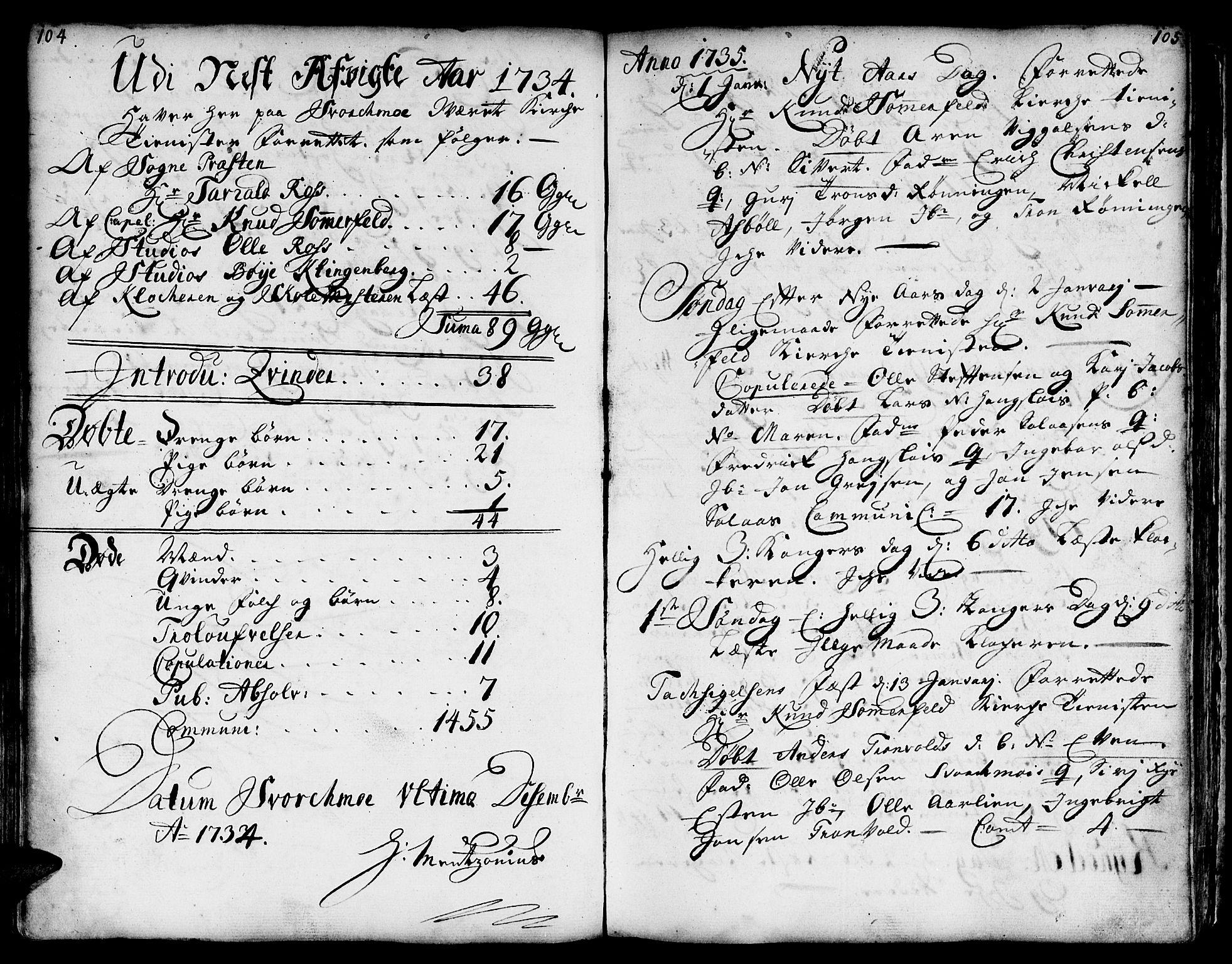 SAT, Ministerialprotokoller, klokkerbøker og fødselsregistre - Sør-Trøndelag, 671/L0839: Ministerialbok nr. 671A01, 1730-1755, s. 104-105