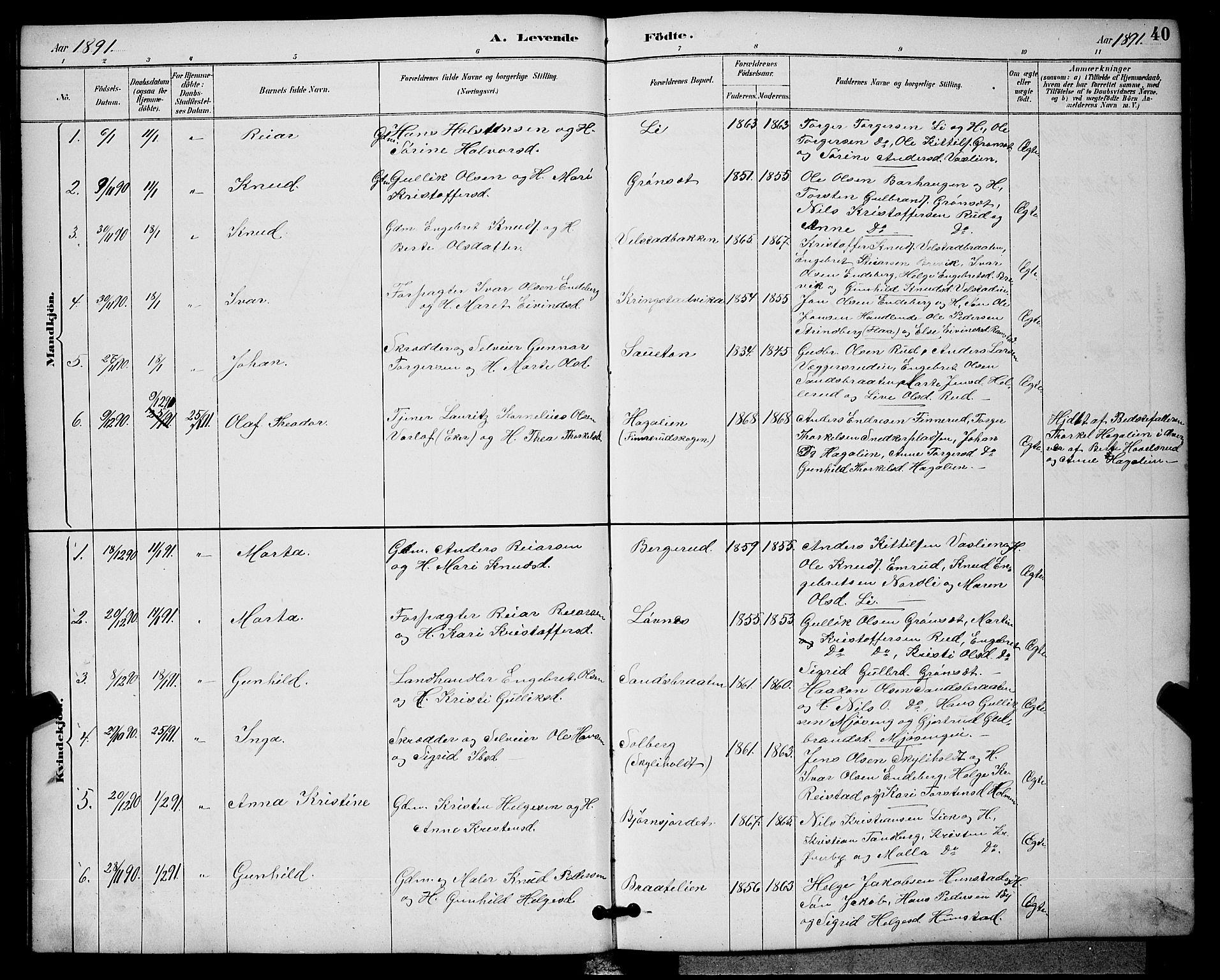 SAKO, Sigdal kirkebøker, G/Ga/L0005: Klokkerbok nr. I 5, 1886-1900, s. 40