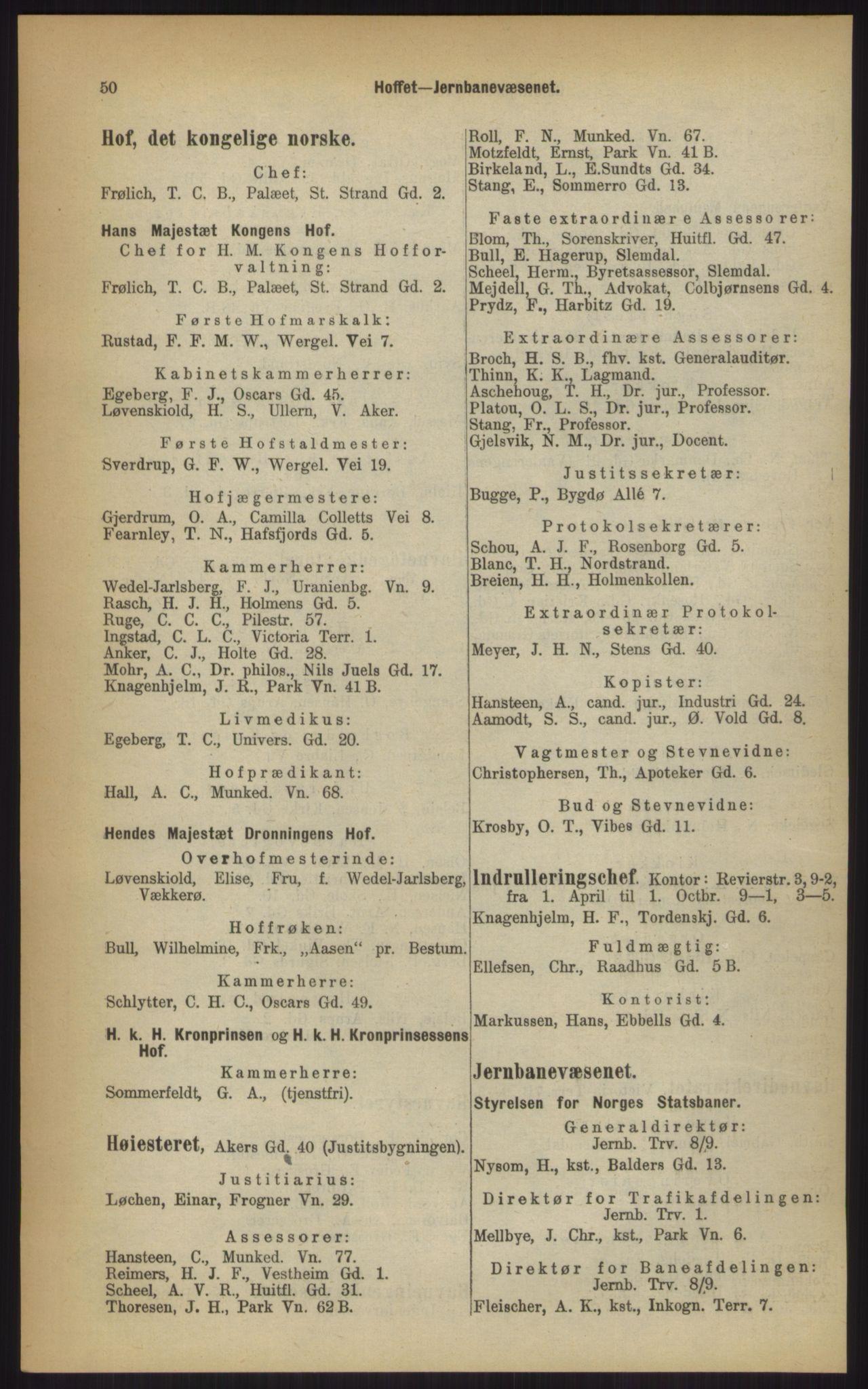 RA, Kristiania adressebok (publikasjon)*, 1903, s. 50