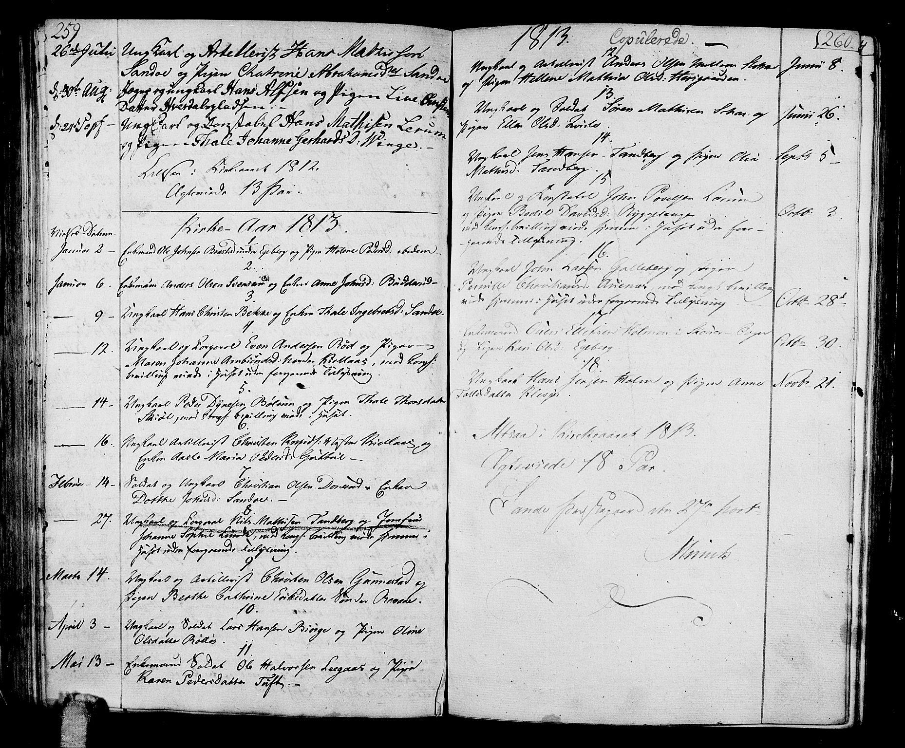 SAKO, Sande Kirkebøker, F/Fa/L0002: Ministerialbok nr. 2, 1804-1814, s. 259-260