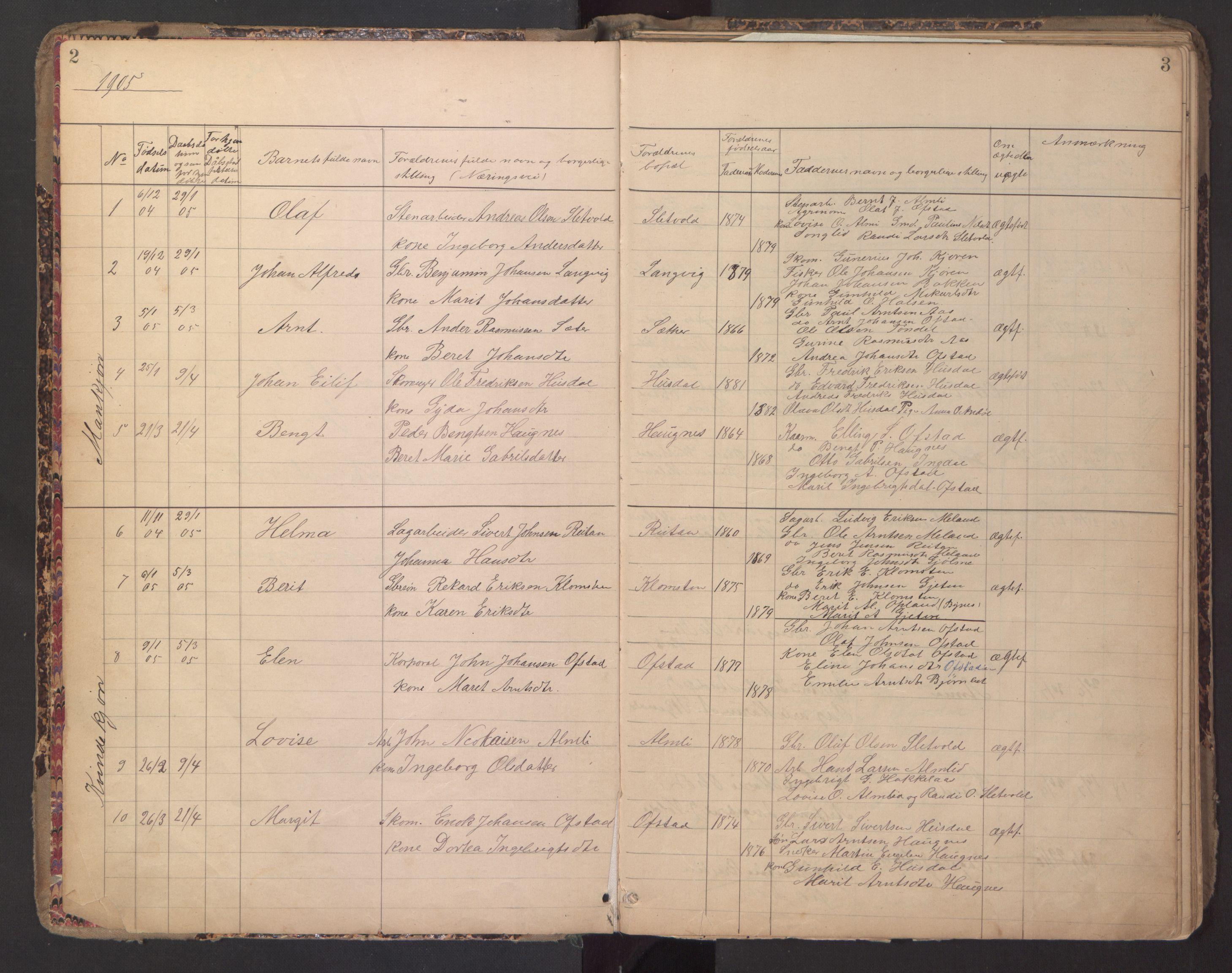 SAT, Ministerialprotokoller, klokkerbøker og fødselsregistre - Sør-Trøndelag, 670/L0837: Klokkerbok nr. 670C01, 1905-1946, s. 2-3