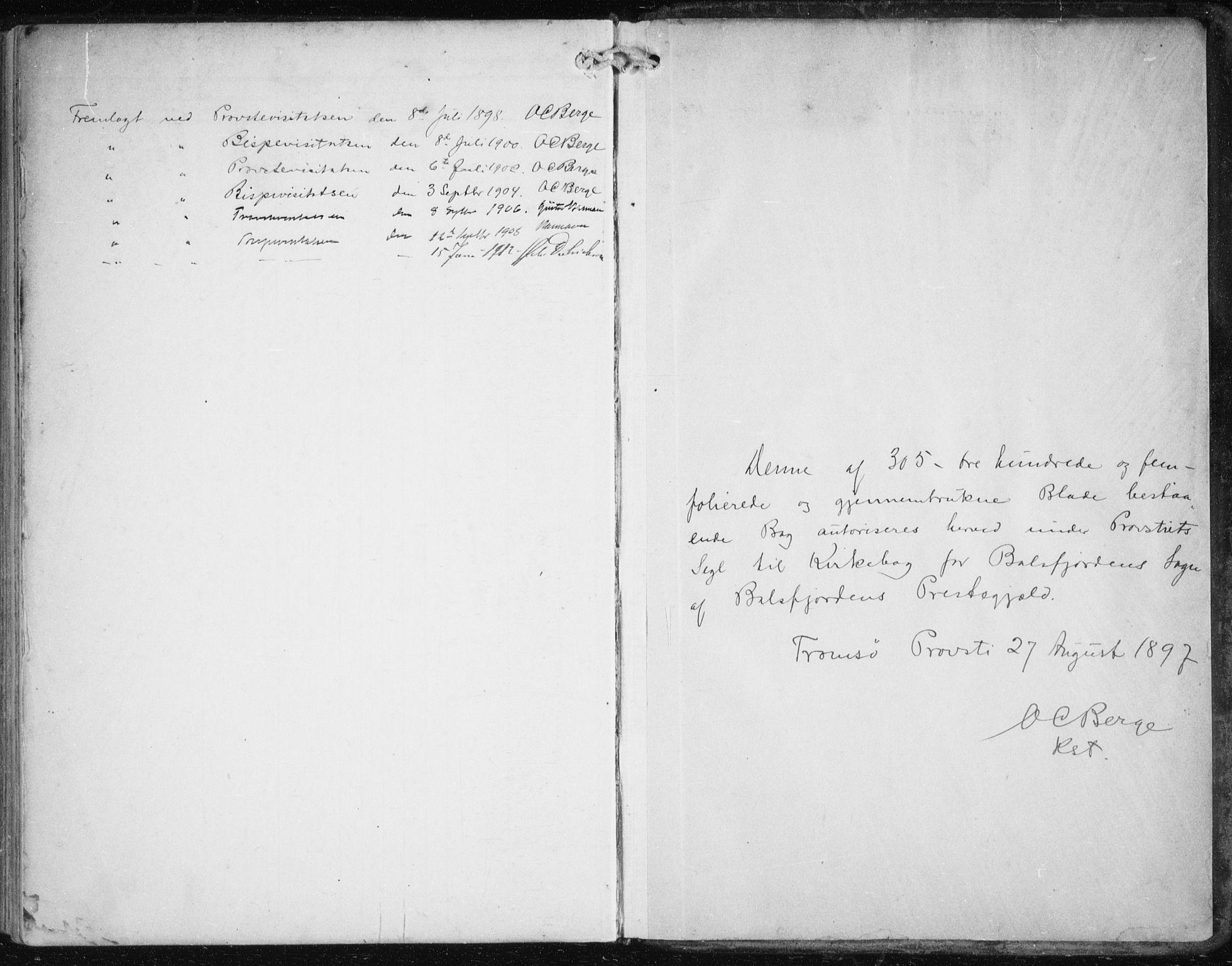 SATØ, Balsfjord sokneprestembete, Ministerialbok nr. 6, 1897-1909