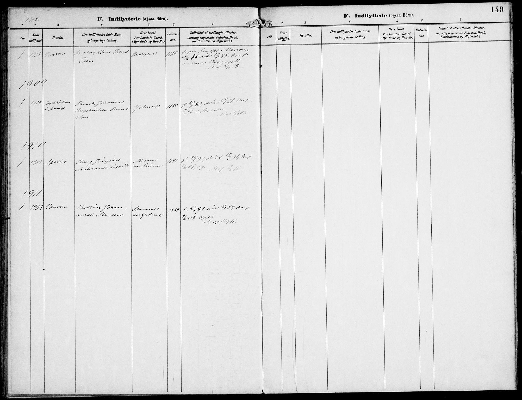 SAT, Ministerialprotokoller, klokkerbøker og fødselsregistre - Nord-Trøndelag, 745/L0430: Ministerialbok nr. 745A02, 1895-1913, s. 149