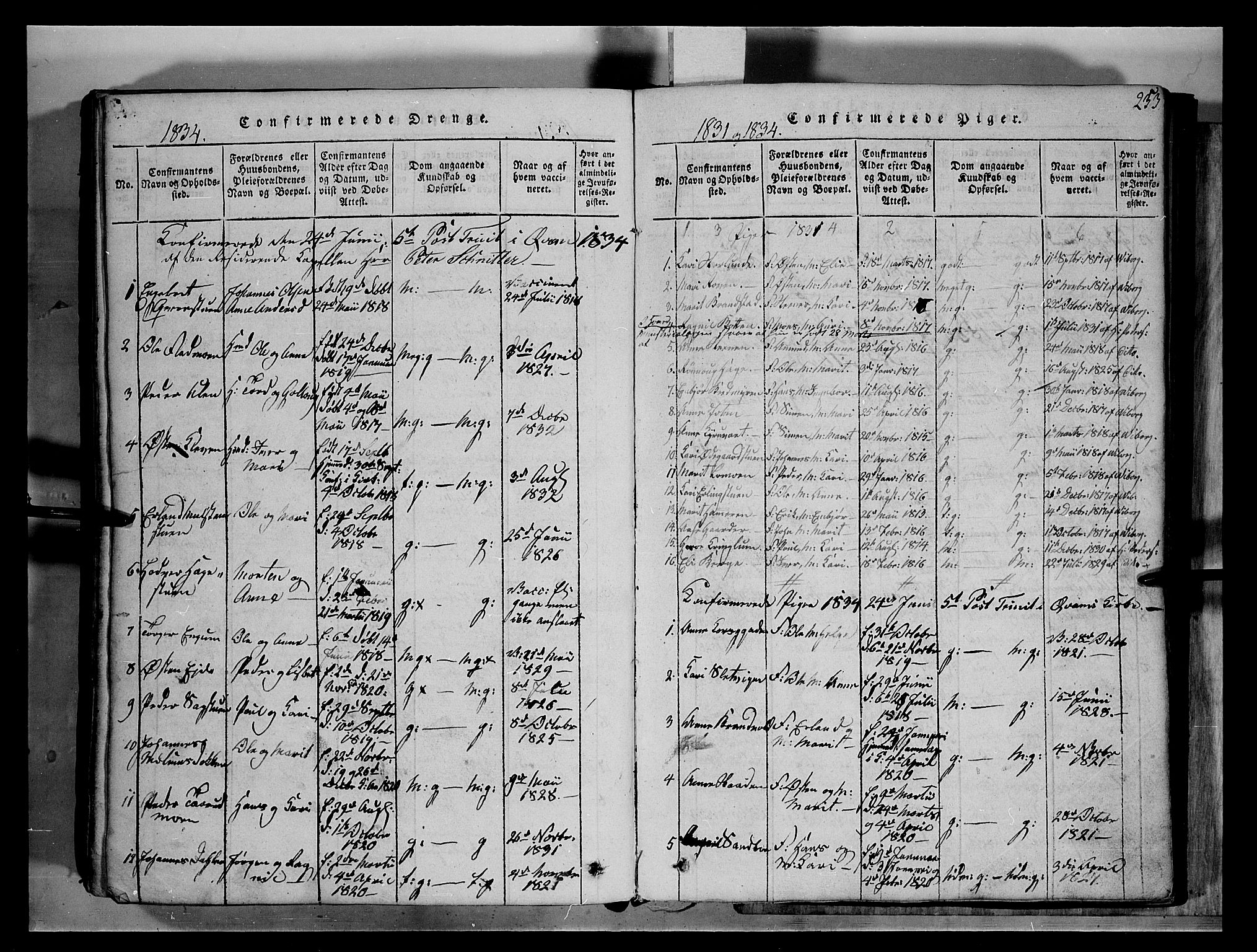 SAH, Fron prestekontor, H/Ha/Hab/L0004: Klokkerbok nr. 4, 1816-1850, s. 253