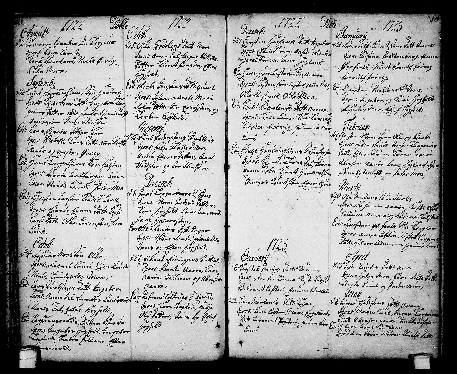 SAKO, Sannidal kirkebøker, F/Fa/L0001: Ministerialbok nr. 1, 1702-1766, s. 118-119