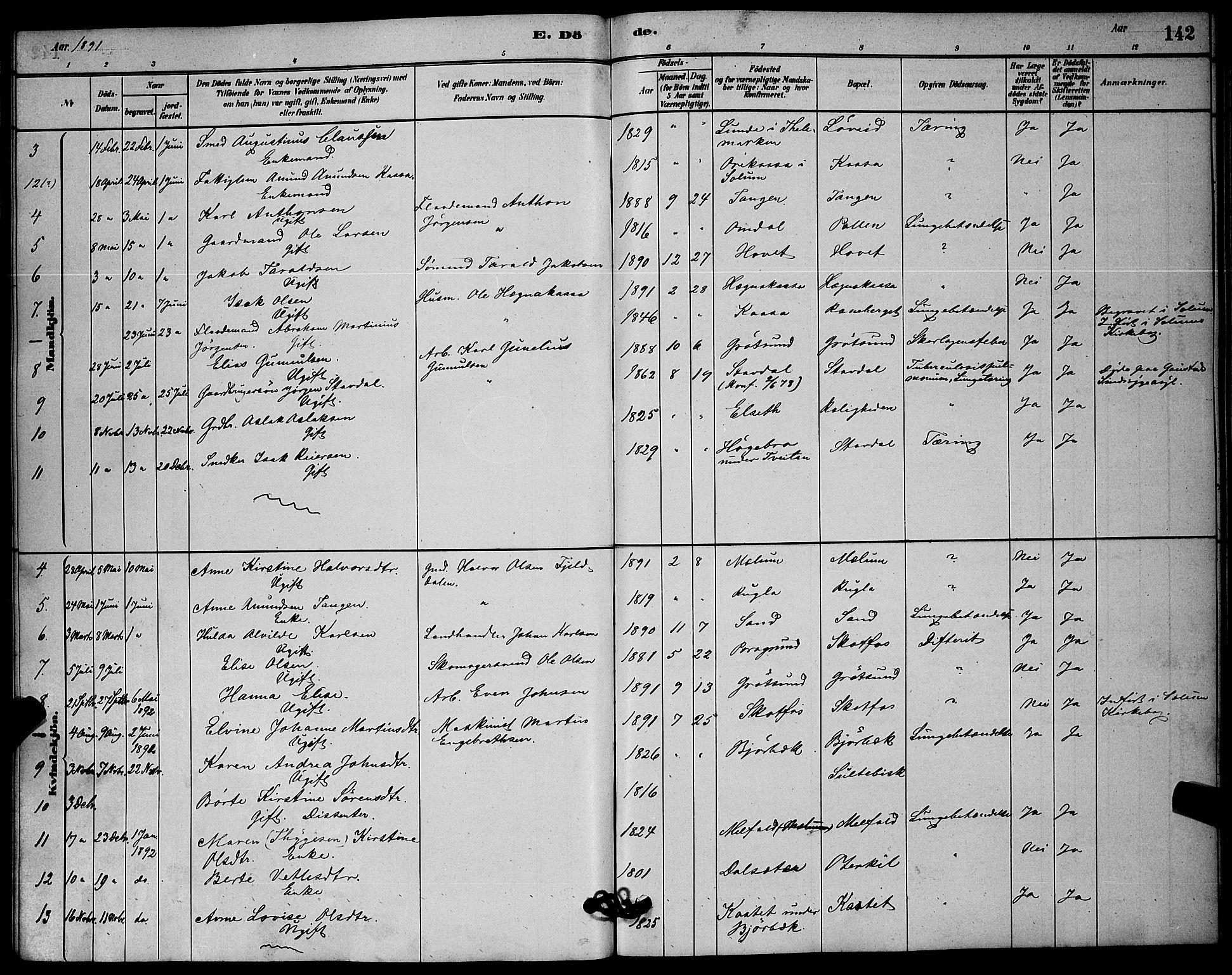 SAKO, Solum kirkebøker, G/Gb/L0003: Klokkerbok nr. II 3, 1880-1898, s. 142