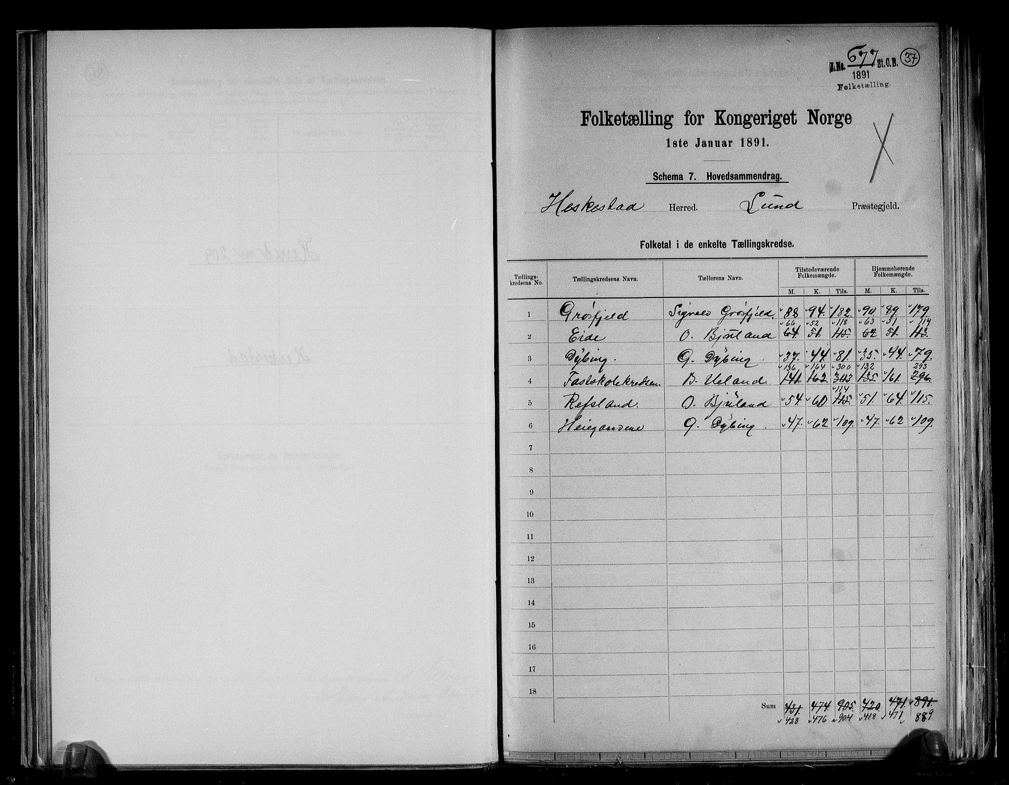 RA, Folketelling 1891 for 1113 Heskestad herred, 1891, s. 2