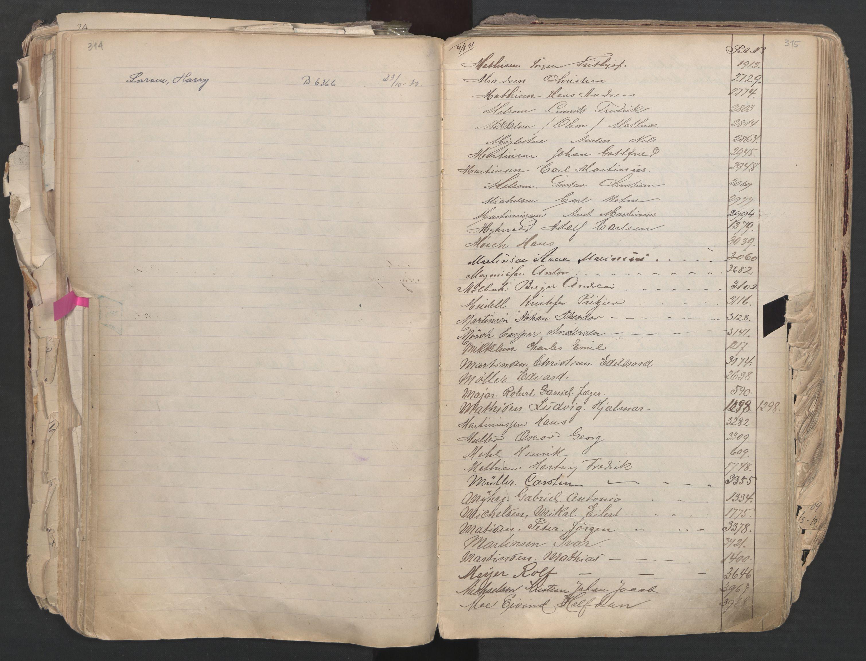SAO, Oslo sjømannskontor, F/Fa/L0003: Register for Oslo mønstringskrets, 1891-1948, s. 314-315