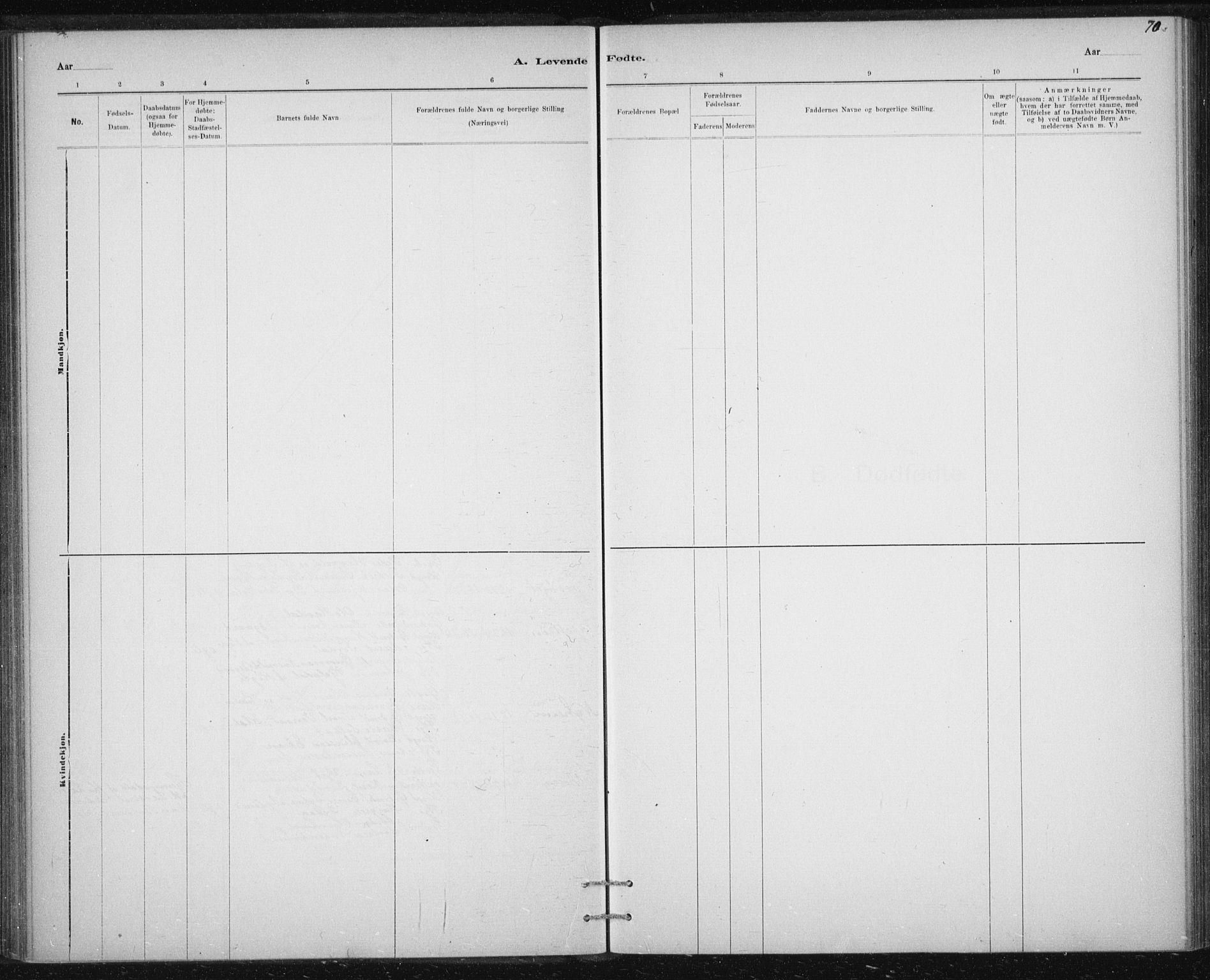 SAT, Ministerialprotokoller, klokkerbøker og fødselsregistre - Sør-Trøndelag, 613/L0392: Ministerialbok nr. 613A01, 1887-1906, s. 70