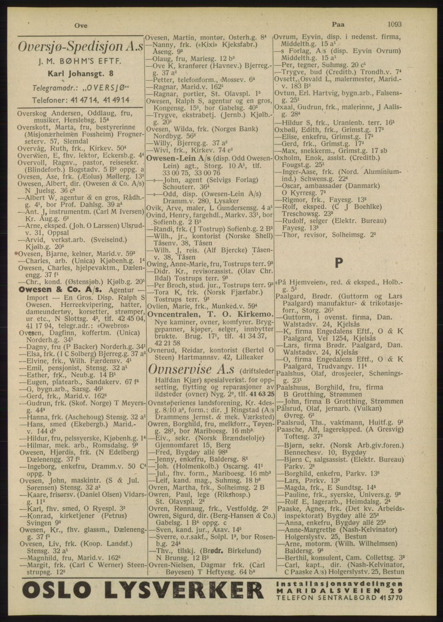 RA, Oslo adressebok (publikasjon)*, 1948, s. 1093