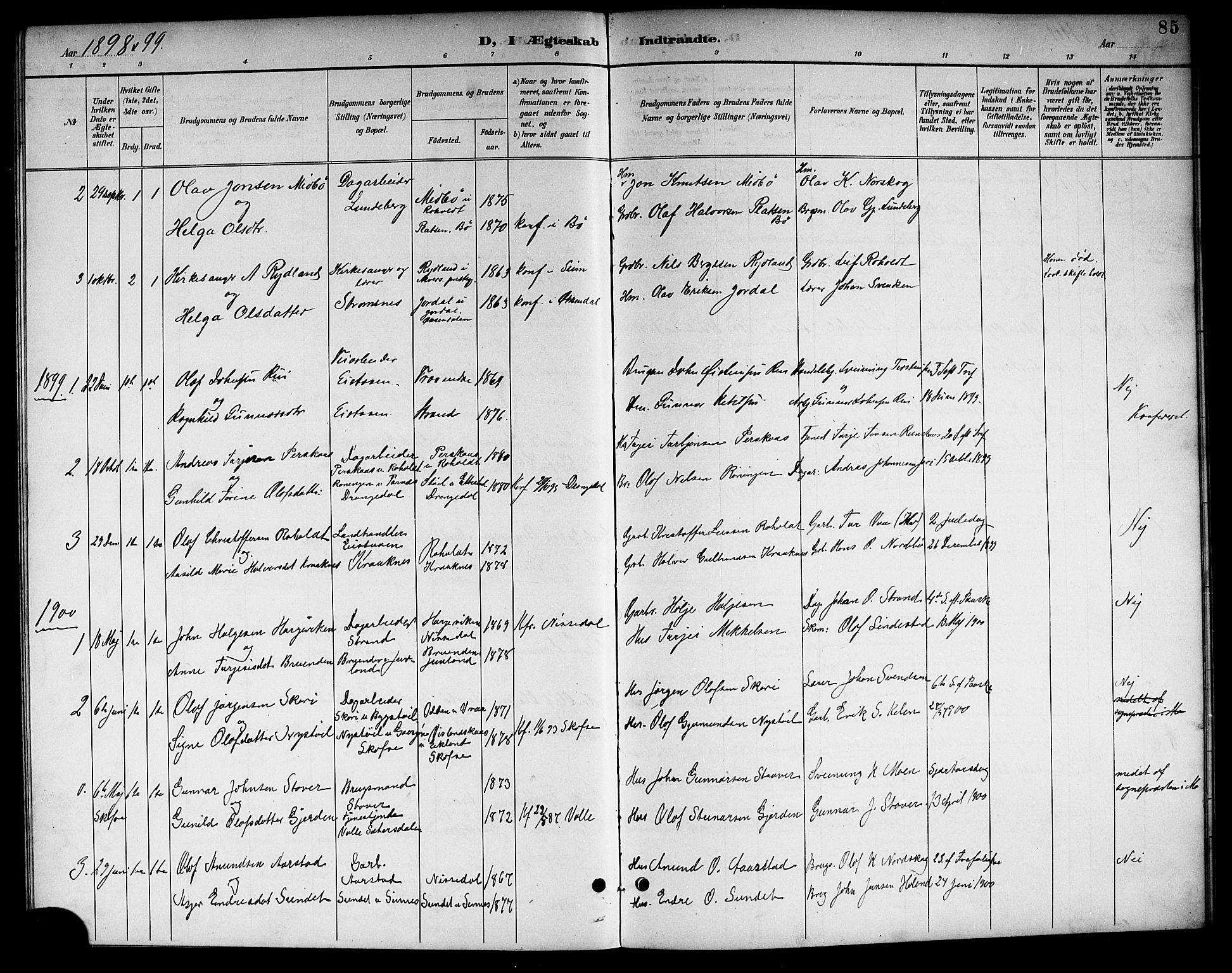 SAKO, Kviteseid kirkebøker, G/Gc/L0001: Klokkerbok nr. III 1, 1893-1916, s. 85