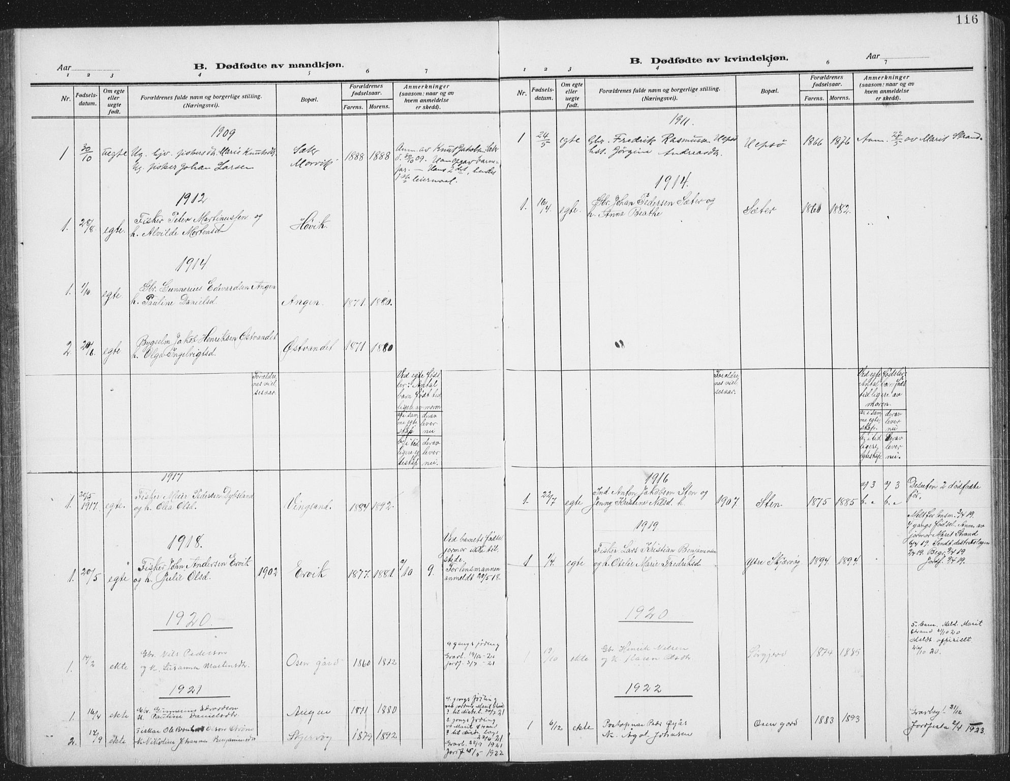 SAT, Ministerialprotokoller, klokkerbøker og fødselsregistre - Sør-Trøndelag, 658/L0727: Klokkerbok nr. 658C03, 1909-1935, s. 116