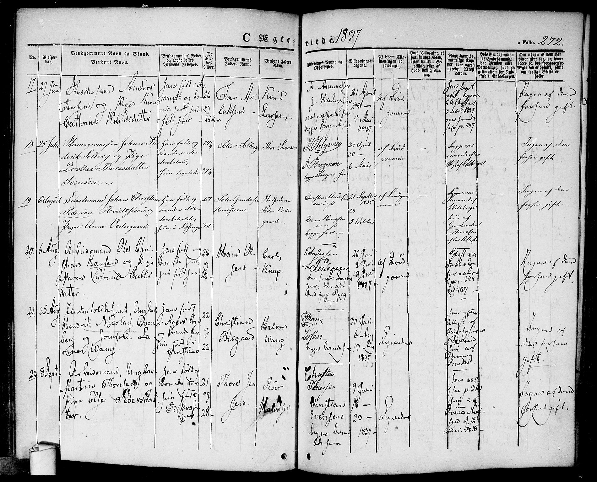 SAO, Halden prestekontor Kirkebøker, F/Fa/L0005: Ministerialbok nr. I 5, 1834-1845, s. 272